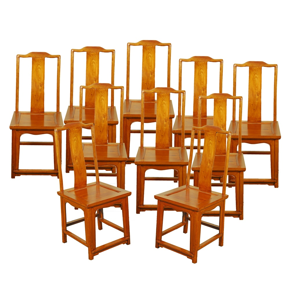 Set Of 10 Chinese Elm Wood Dining Chairs ...