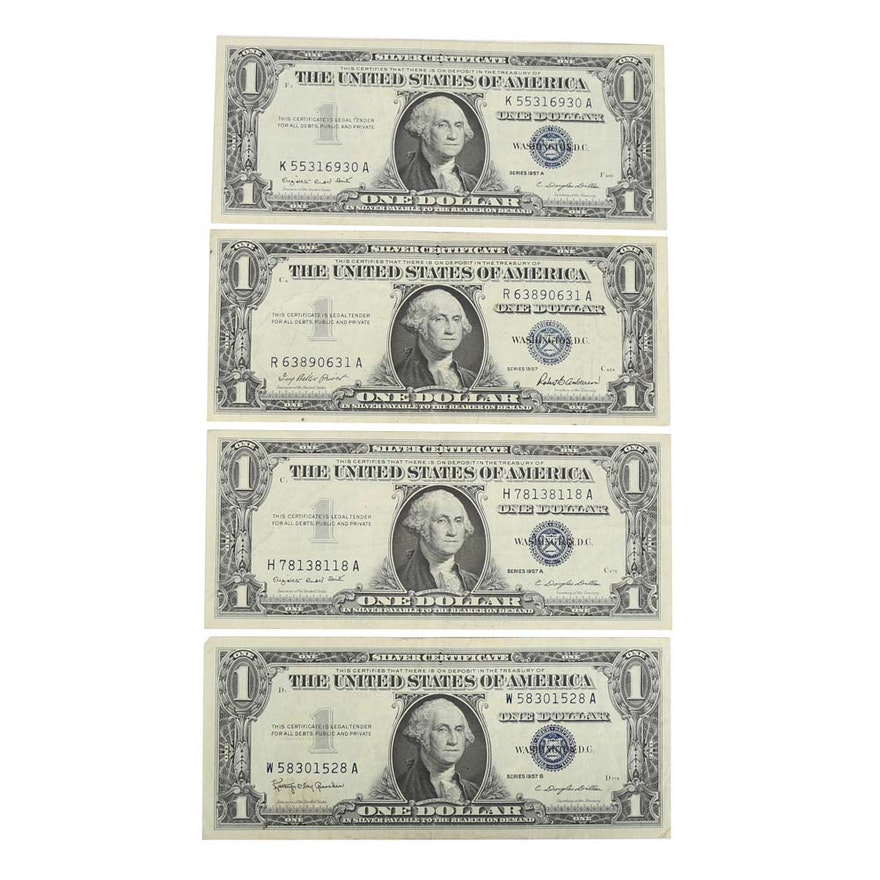 Four 1957 Blue Seal One Dollar Silver Certificates : EBTH