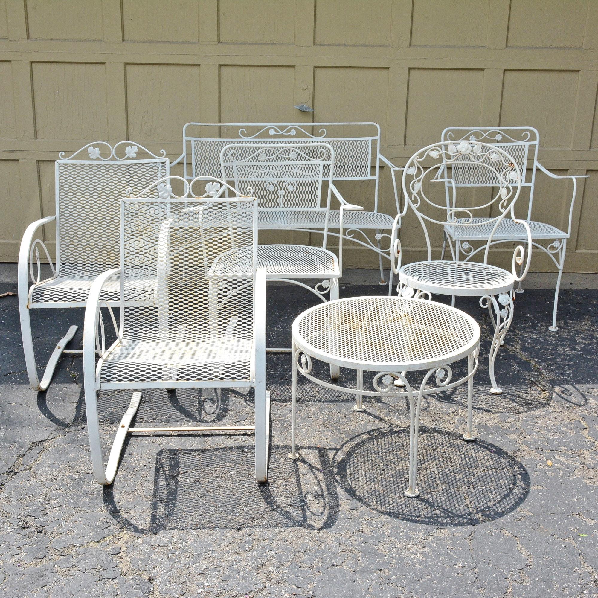 White metal patio chairs Black Metal Everything But The House White Metal Patio Chairs Bench And Side Table Ebth