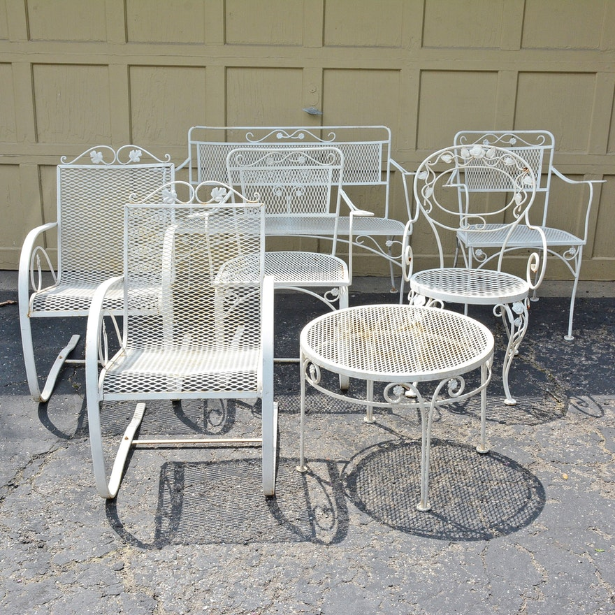 White Metal Patio Chairs, Bench, and Side Table : EBTH