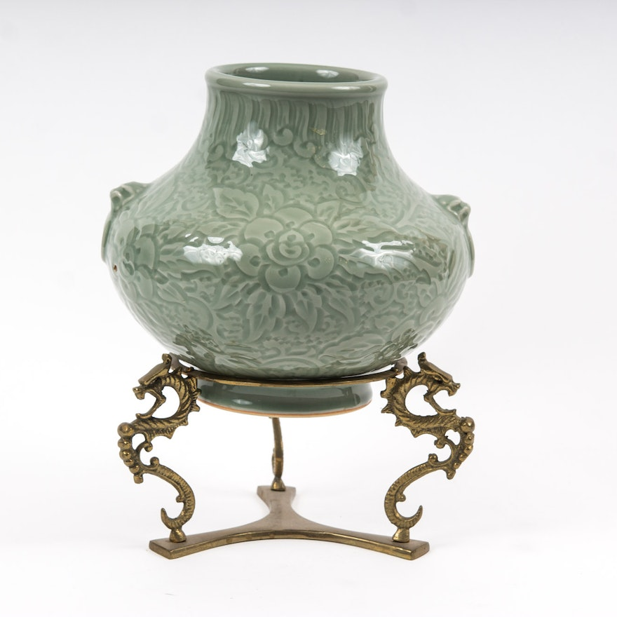 Korean Celadon Ceramic Vase And Stand Ebth