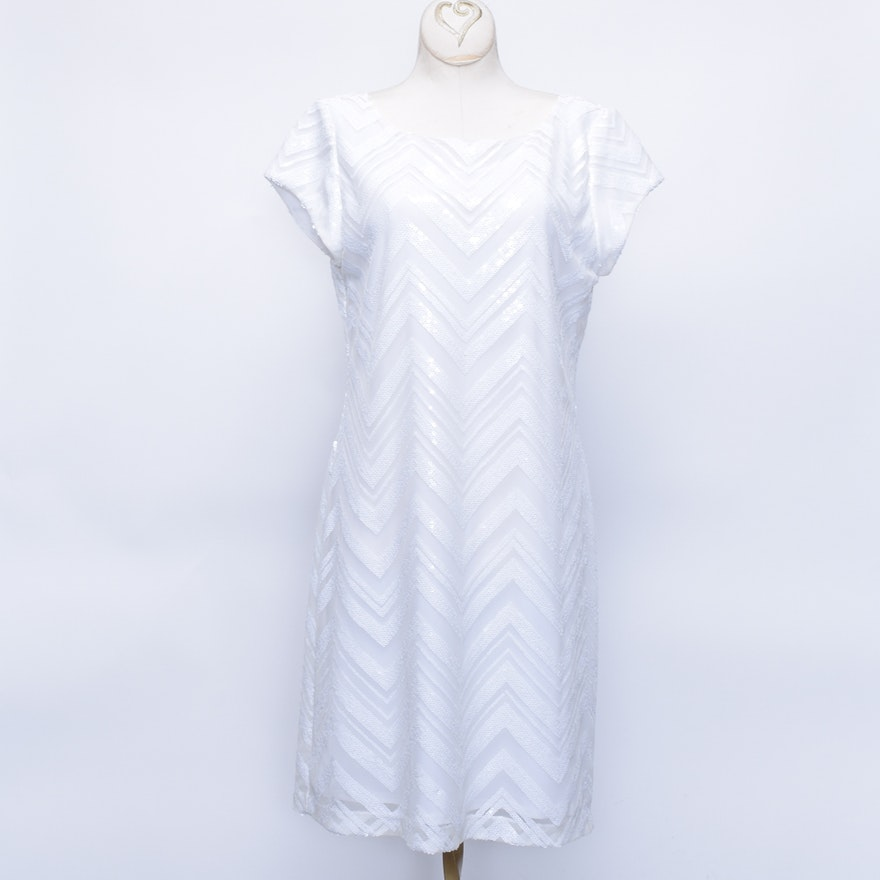 White House Black Market White Sequined Chevron Dress Ebth