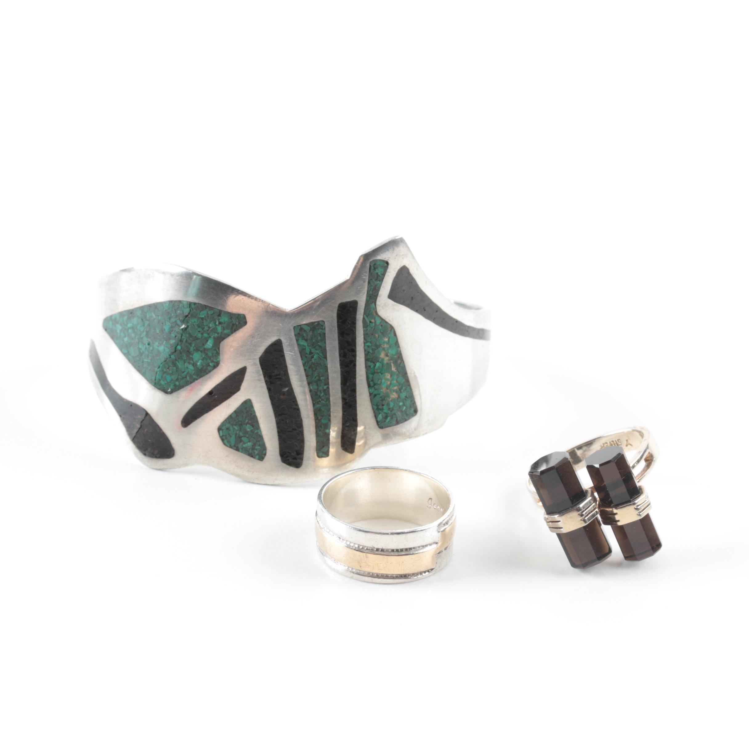Jewelry Assortment Including Sterling Silver and Stone Inlay
