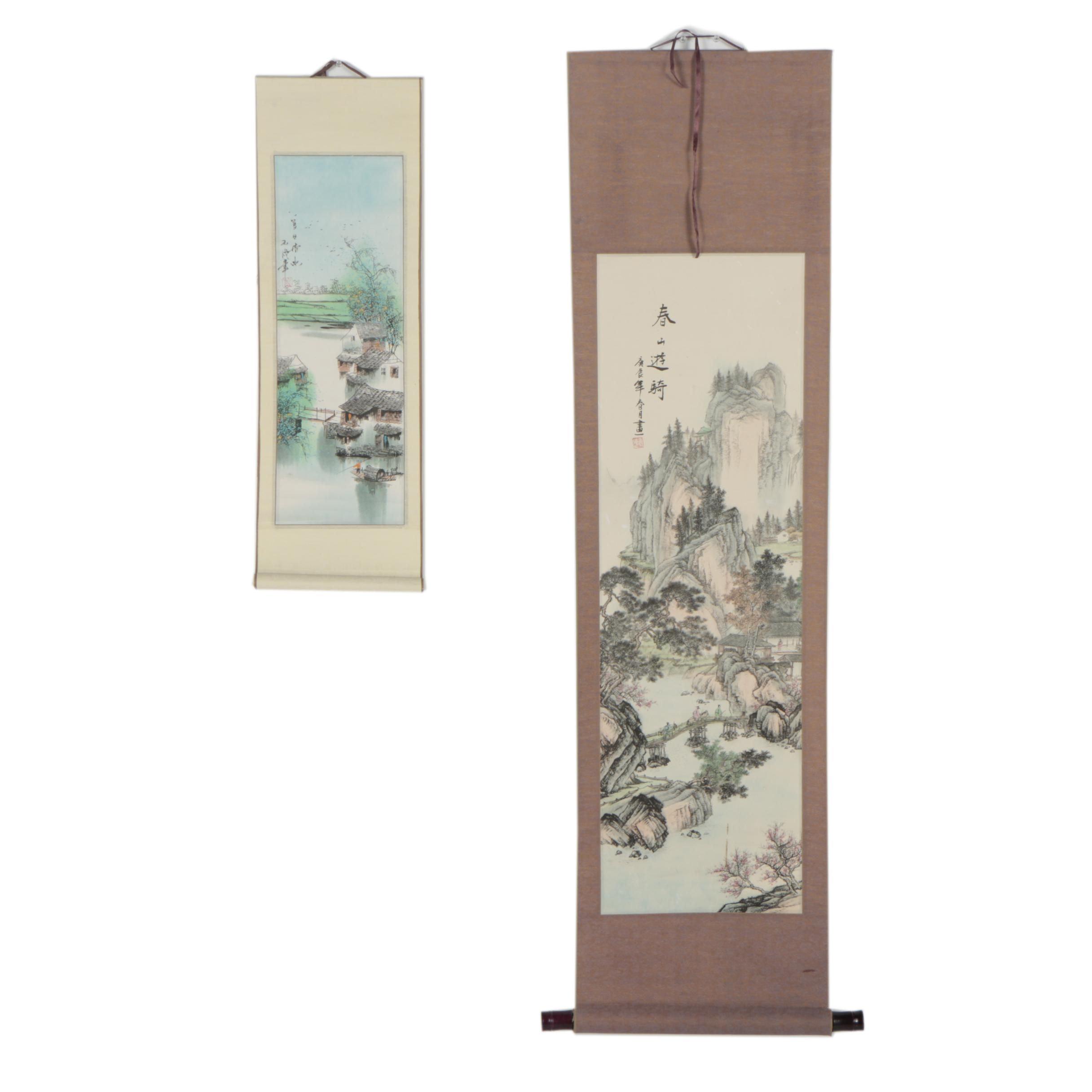 Chinese Hanging Scroll Photomechanical Prints
