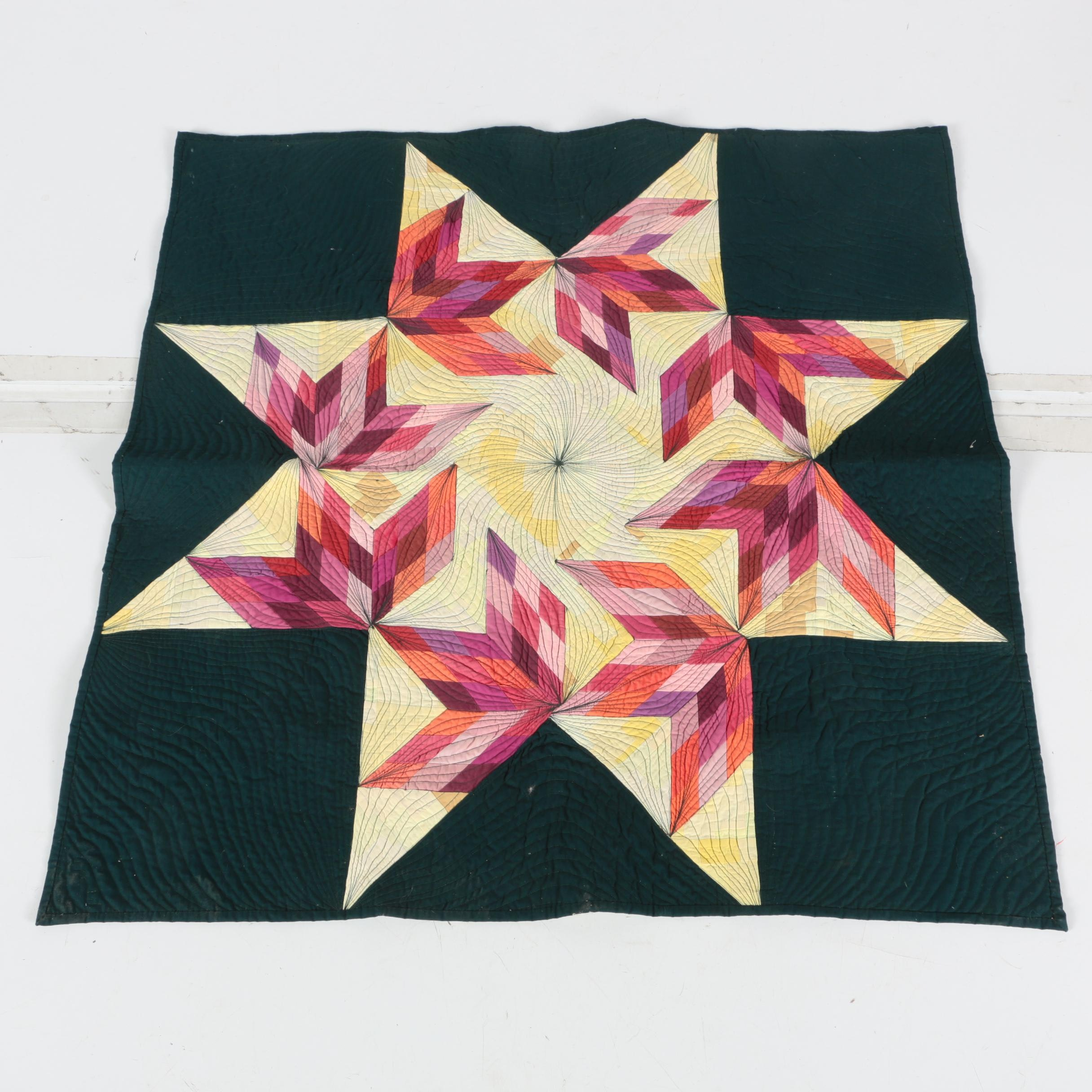"""Signed Contemporary """"Lone Star Variation"""" Handcrafted Crib-Size Quilt"""
