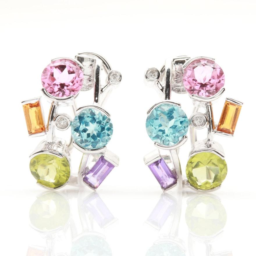 47a6b9a9dd4 18K White Gold Diamond, Citrine, Amethyst, and Blue Topaz Earrings