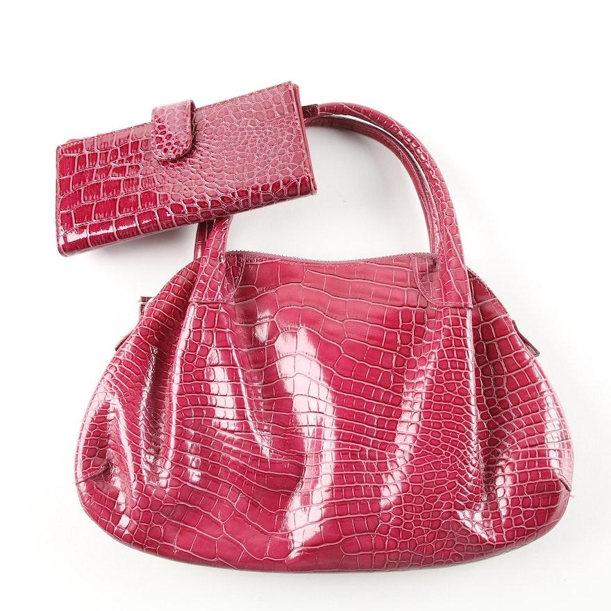dac007dcf2dd Donna Dixon Alligator Embossed Leather Handbag and Wallet   EBTH