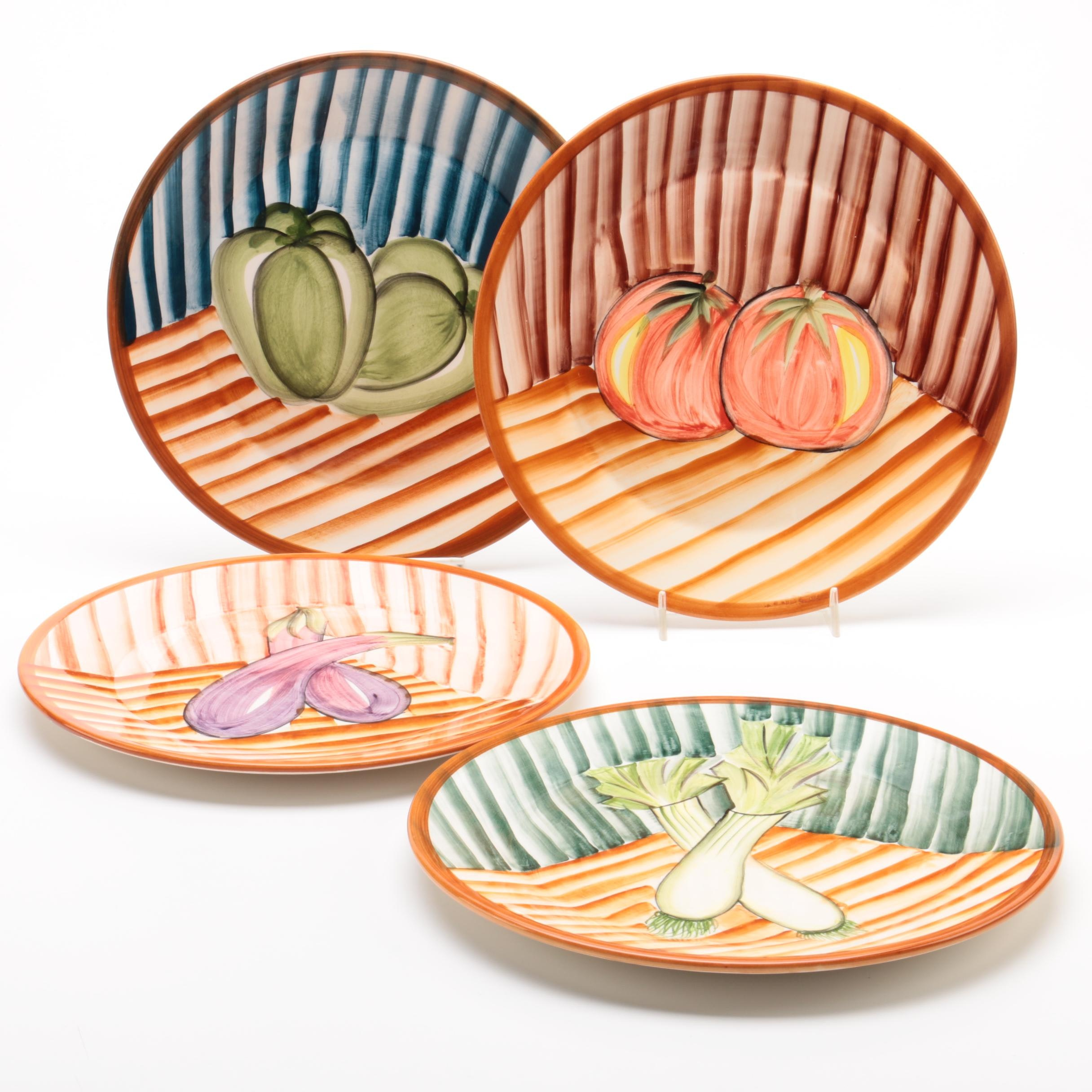 Hand Painted Portuguese Ceramic Plates with Vegetables ...  sc 1 st  EBTH.com & Hand Painted Portuguese Ceramic Plates with Vegetables