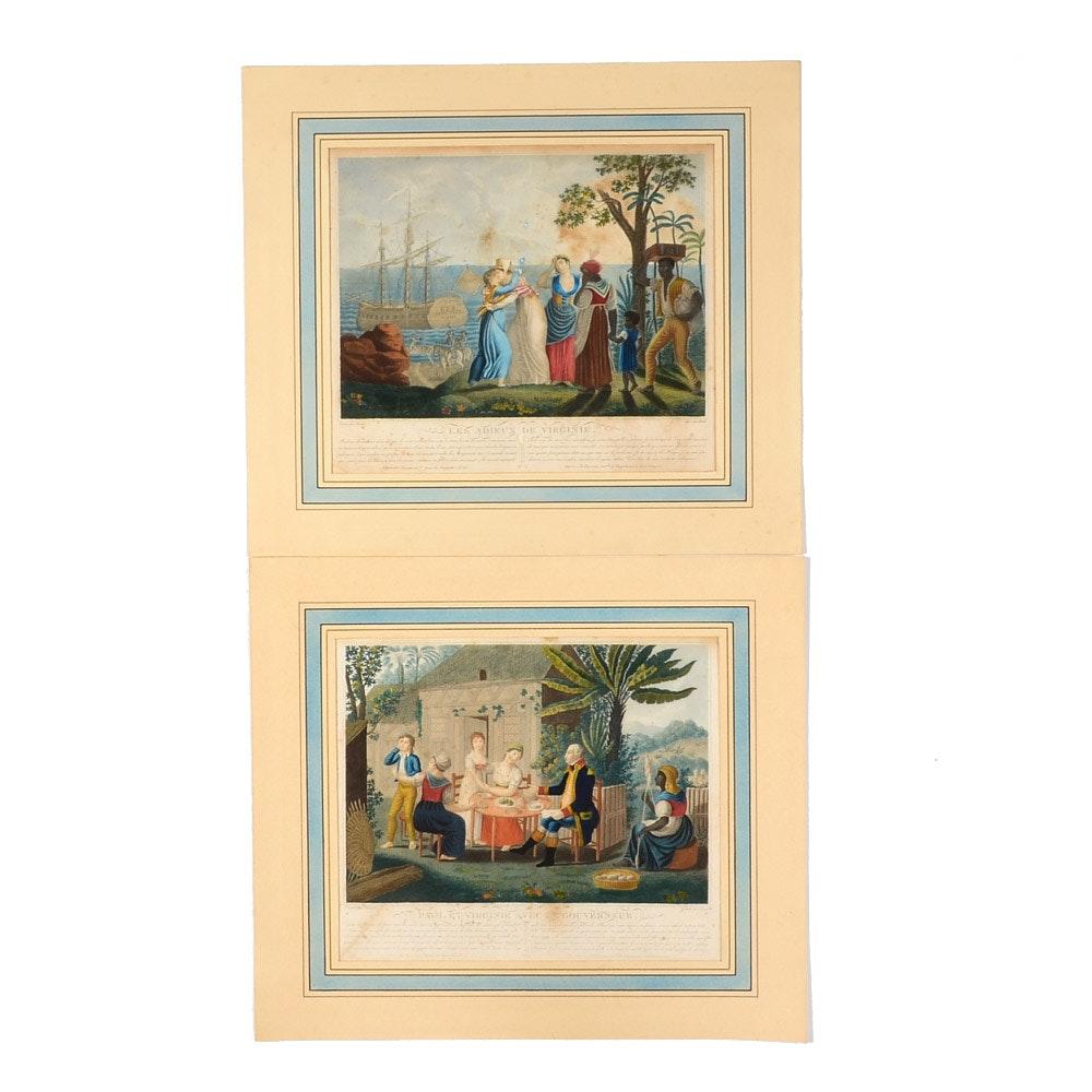 """Pair of Hand-Colored 19th Century Engravings of """"Paul et Virginie"""""""
