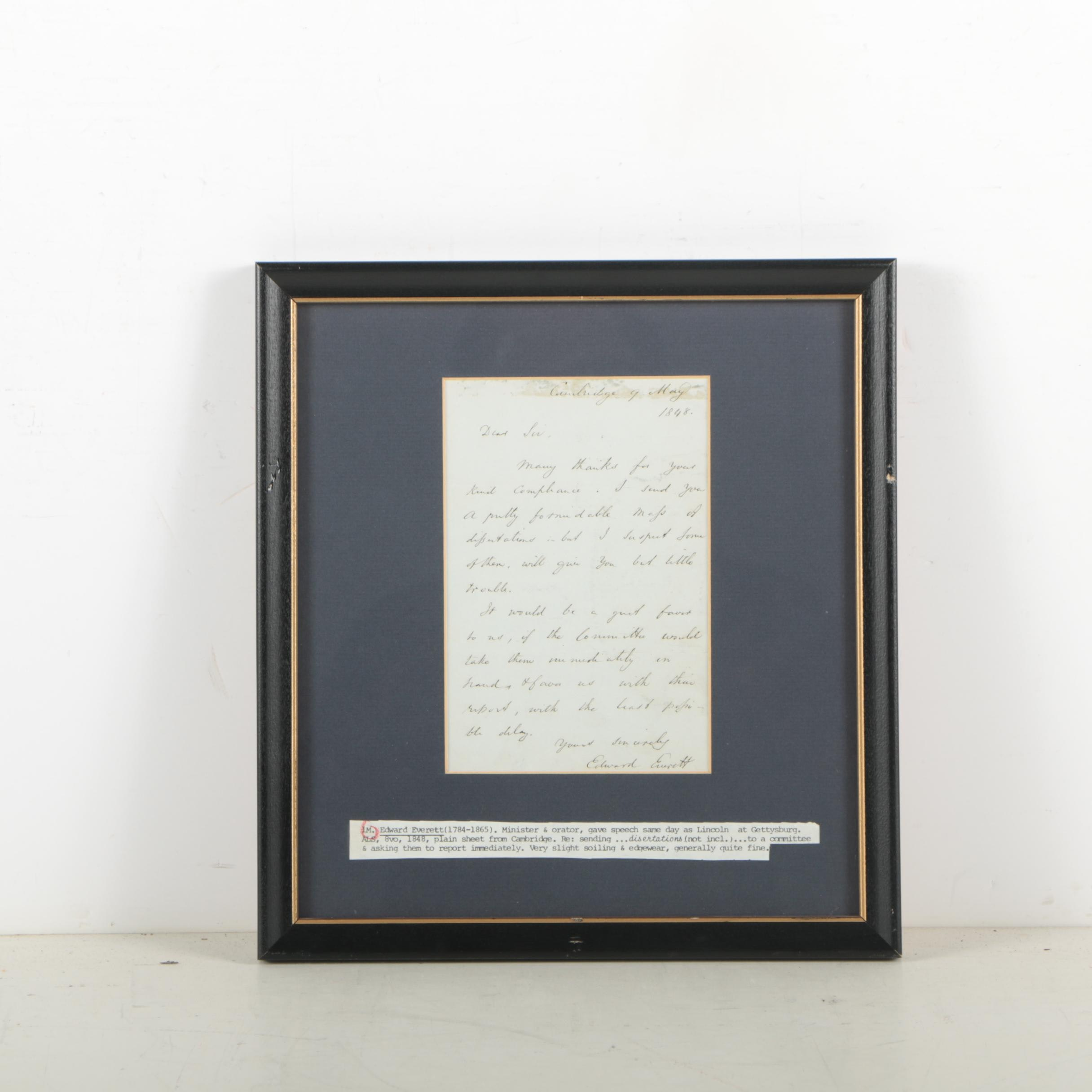 Edward Everett Autograph Letter Signed May 9, 1848