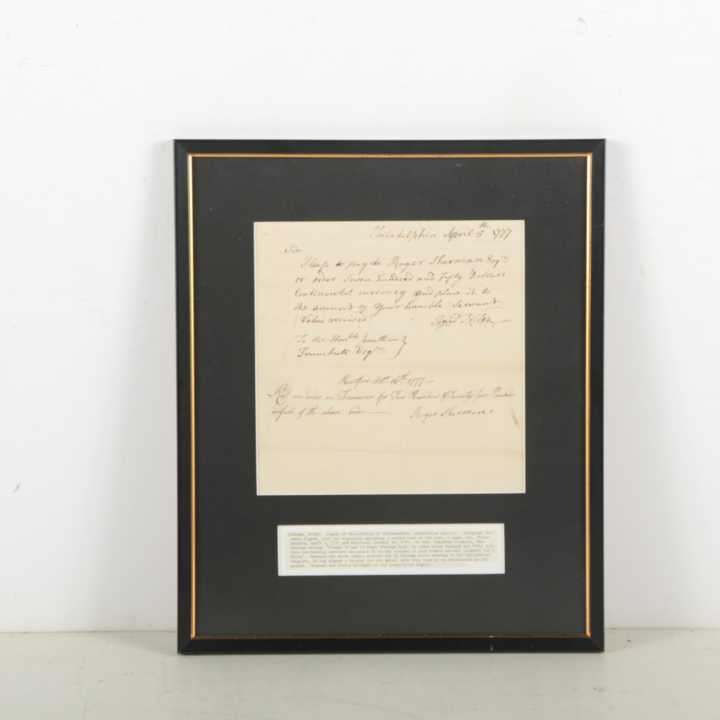 Roger Sherman Document Signed 1777