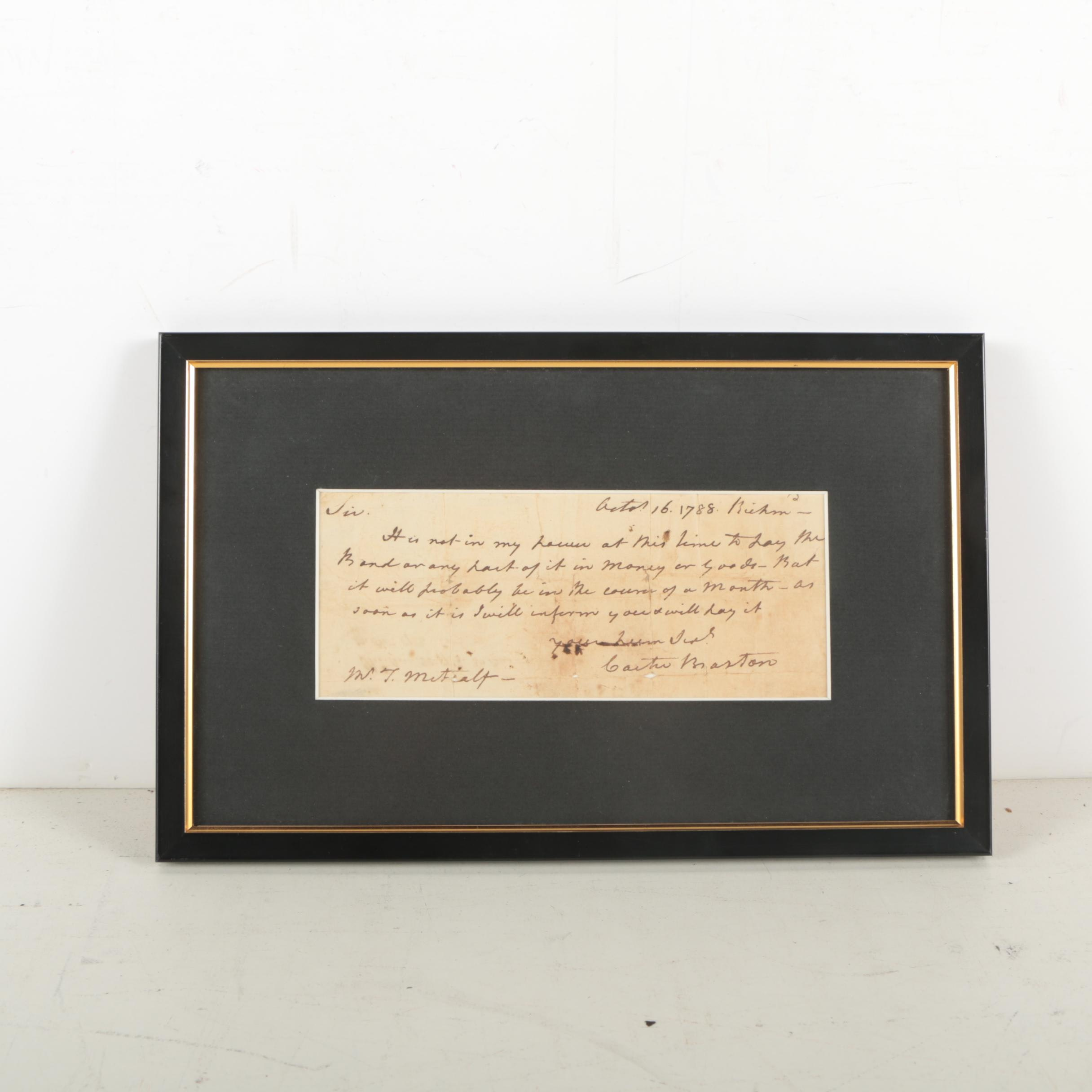 Carter Braxton Financial Note Document Signed October 16, 1788
