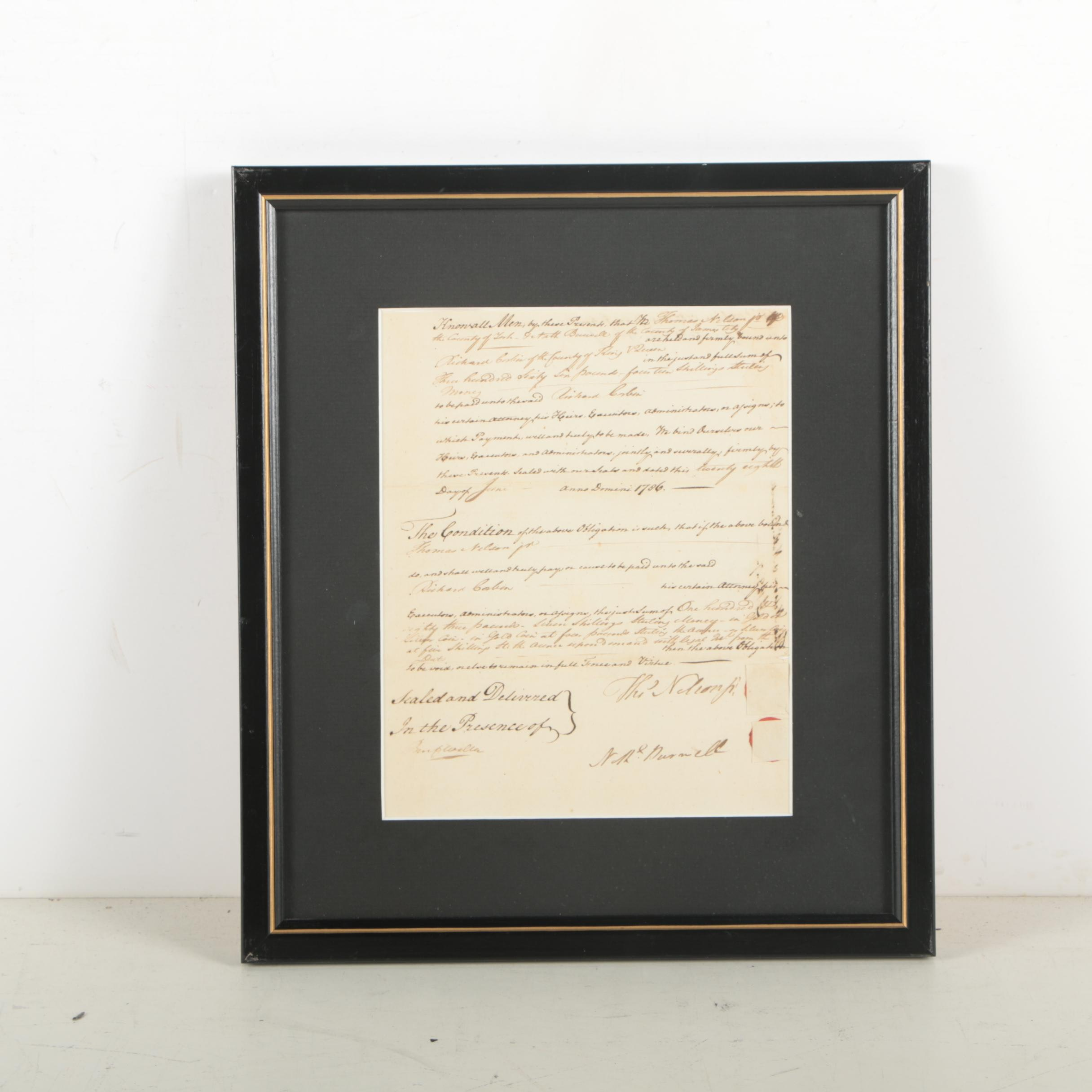 Thomas Nelson Jr. Manuscript Document Signed June 28, 1786