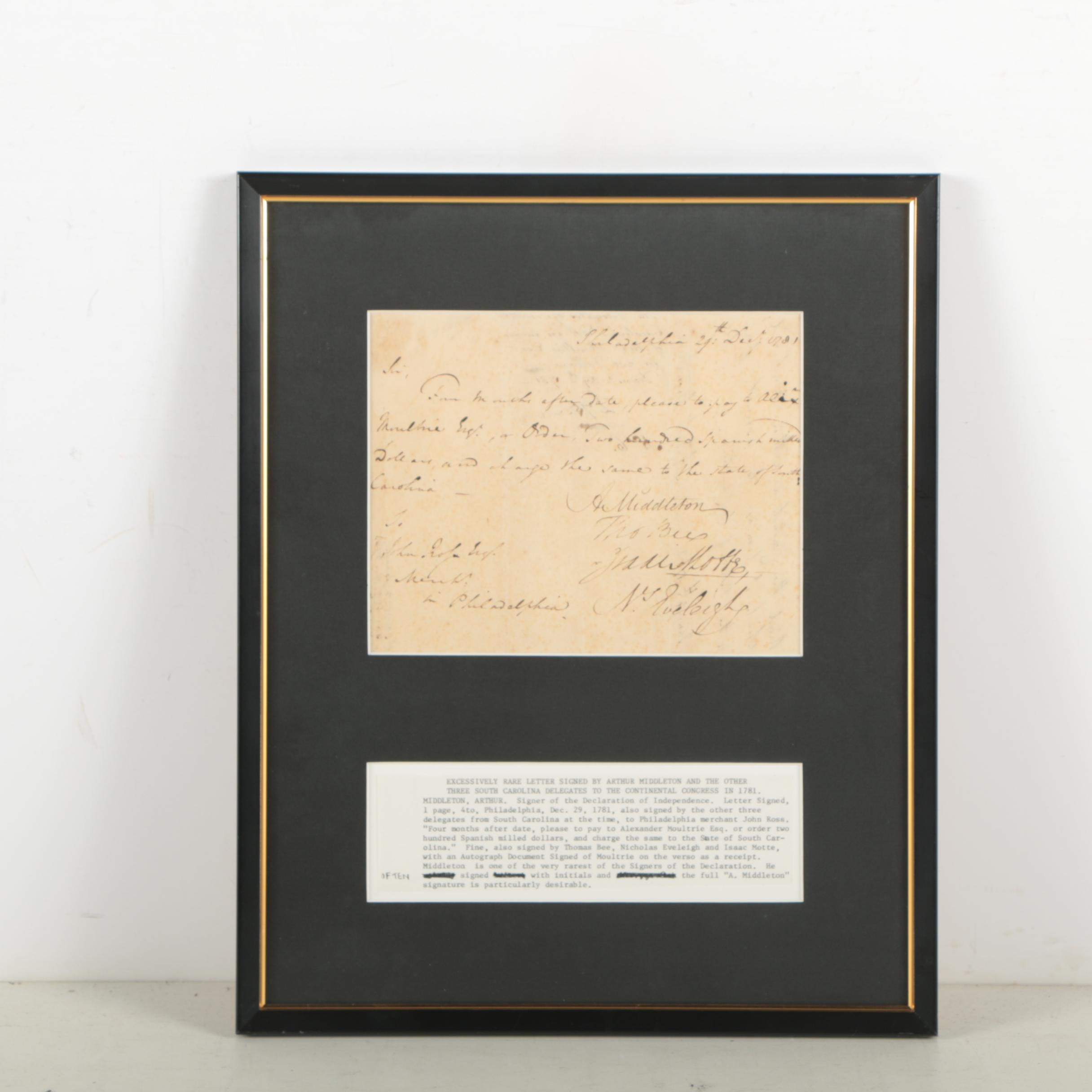Arthur Middleton Document Signed as Member of Continental Congress