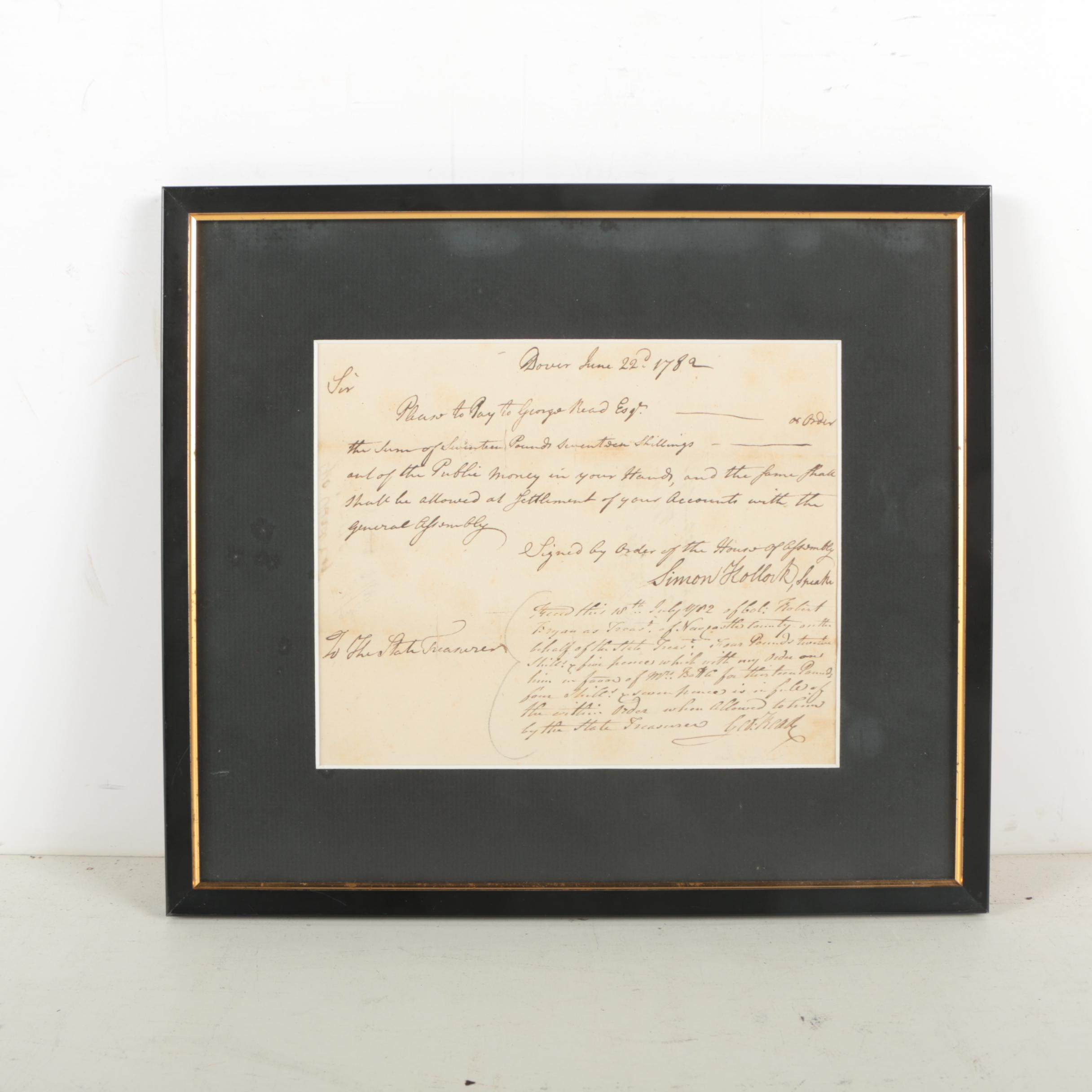 1782 Financial Document Signed by Delaware Patriot George Read