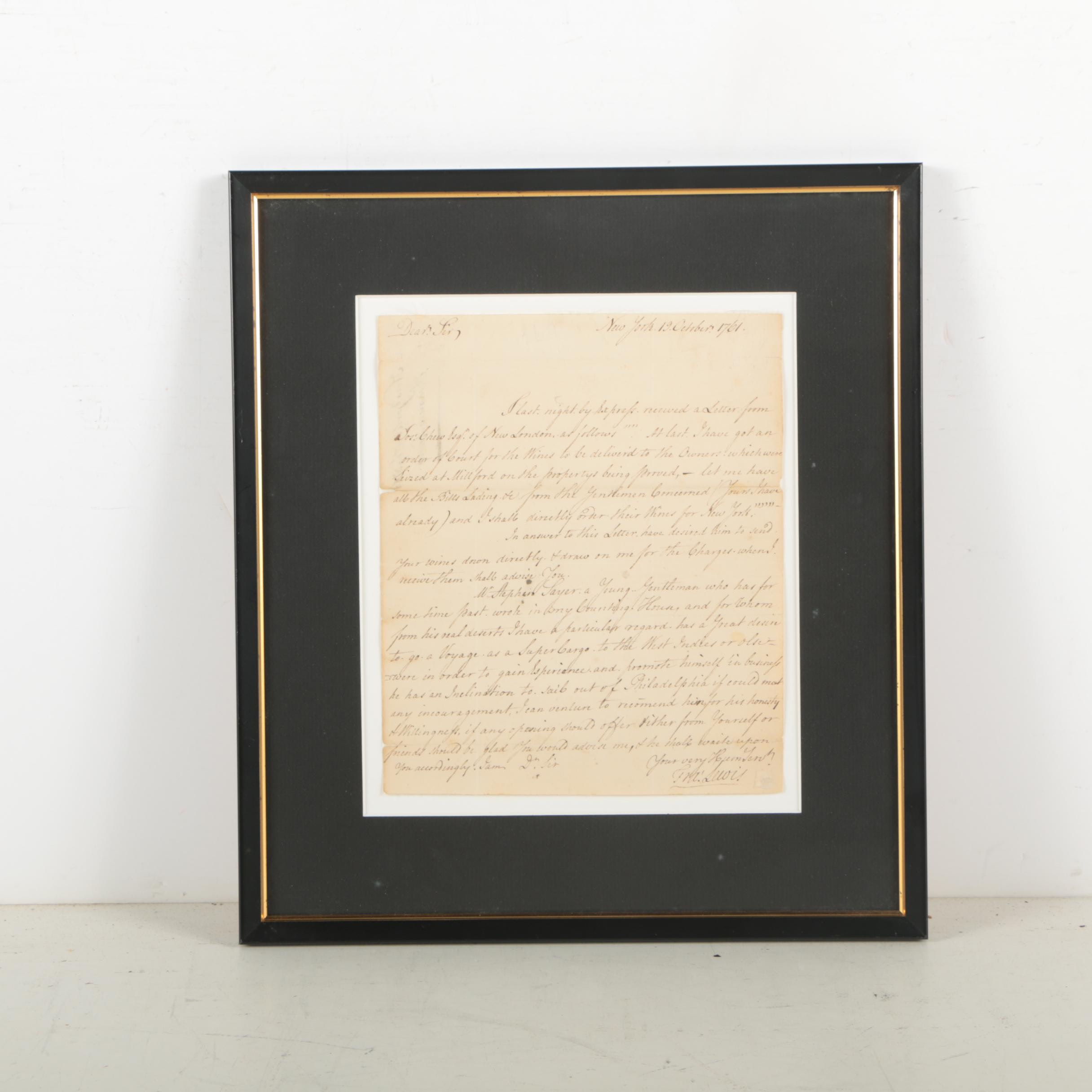 Francis Lewis Correspondence Document Signed October 19, 1761