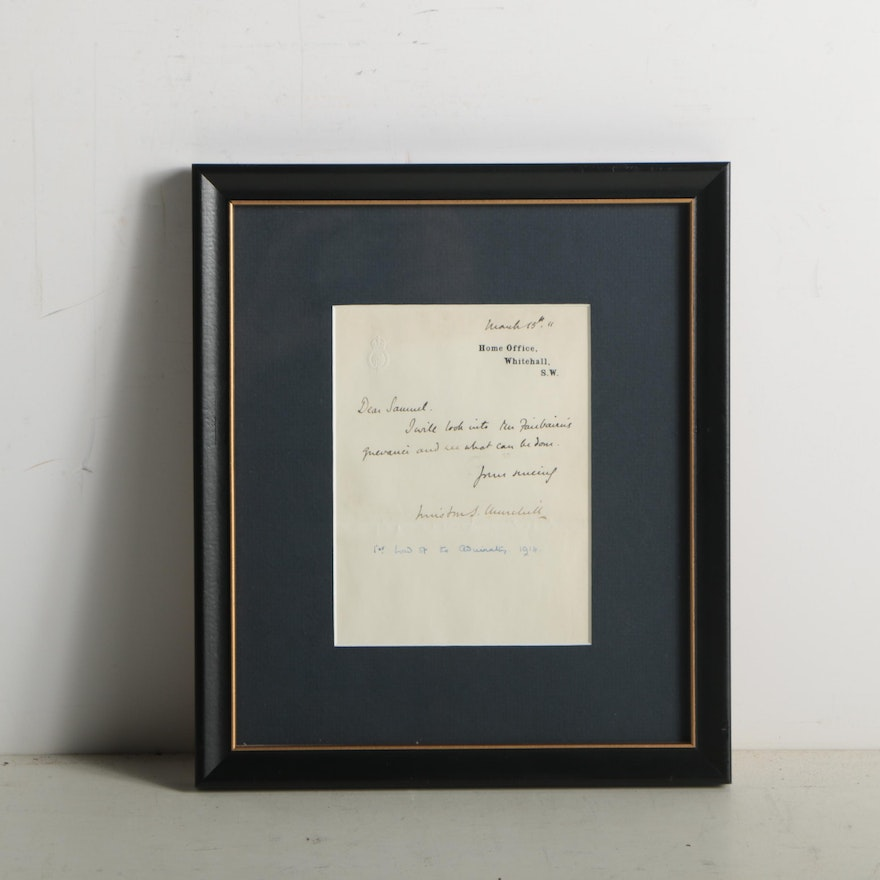 1911 Winston Churchill Signed Correspondence as Home Secretary
