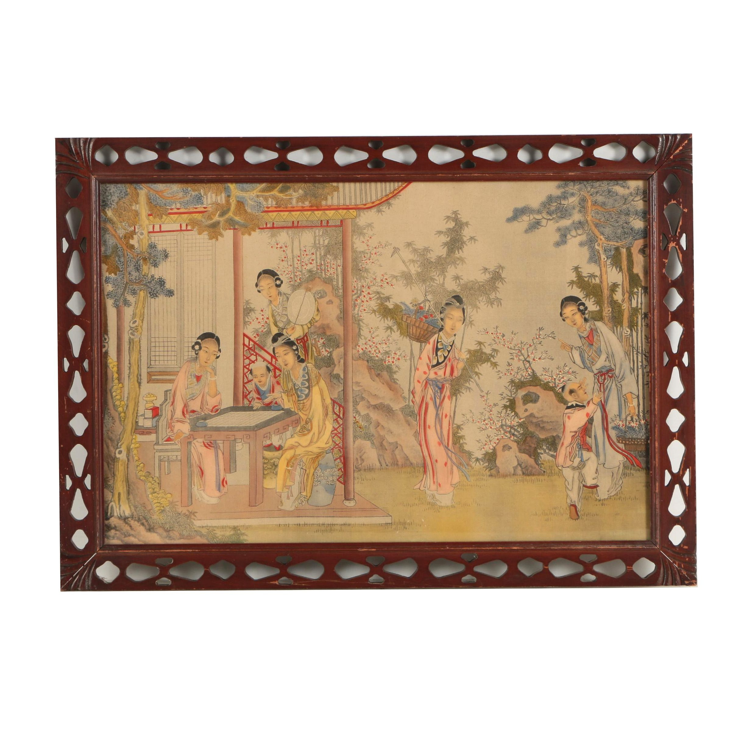 Chinese Hand Colored Collotype Print of Women and Children
