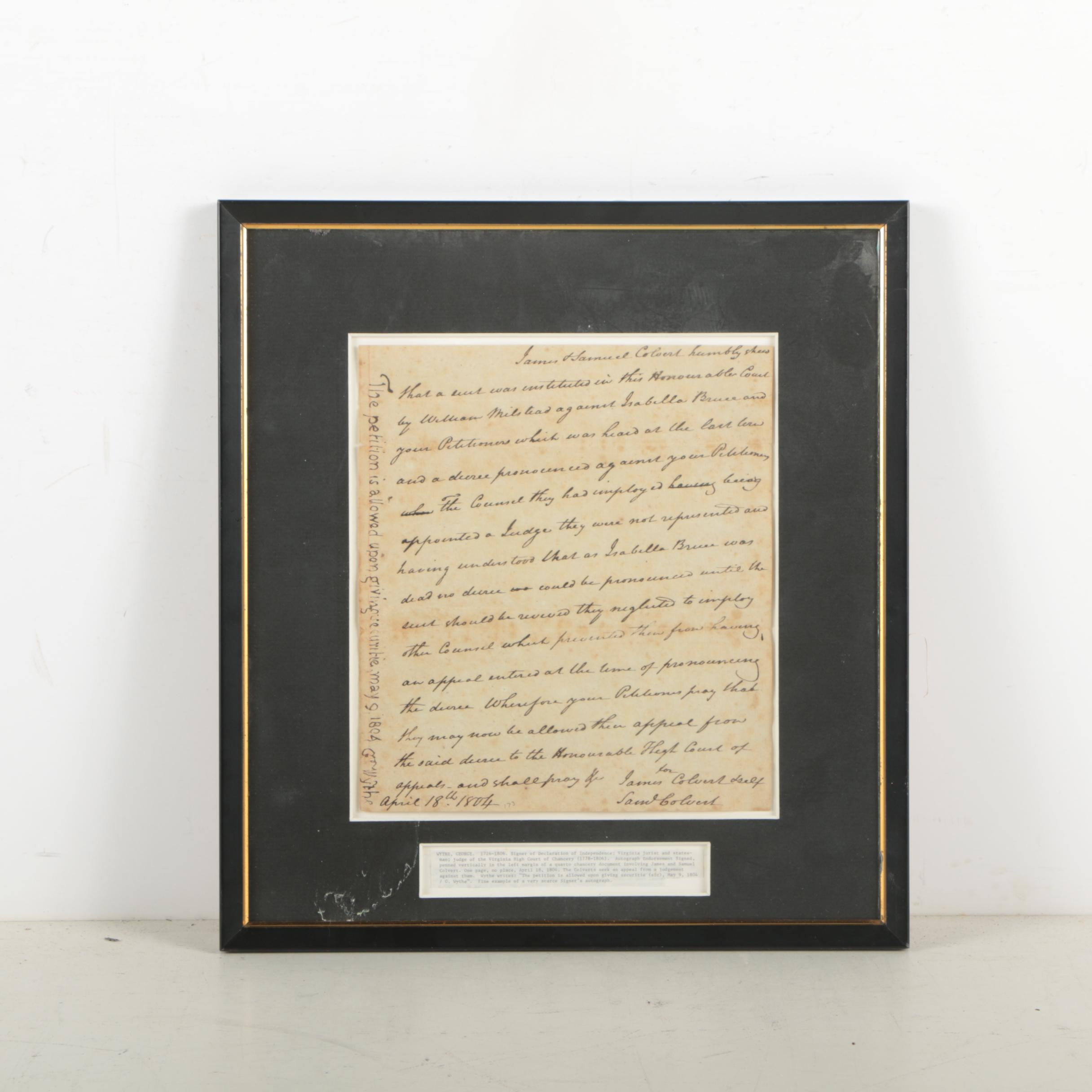 George Wythe Document Signed 1804