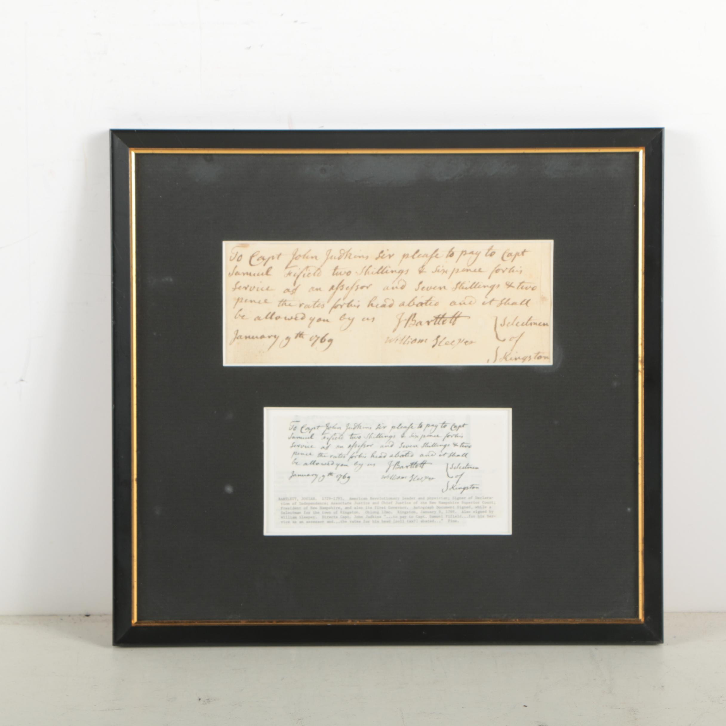 "Josiah Bartlett ""Instructions for Payment"" Document Signed January 9, 1769"