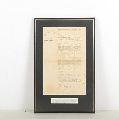 Samuel Adams Appointment Document Signed June 16, 1796
