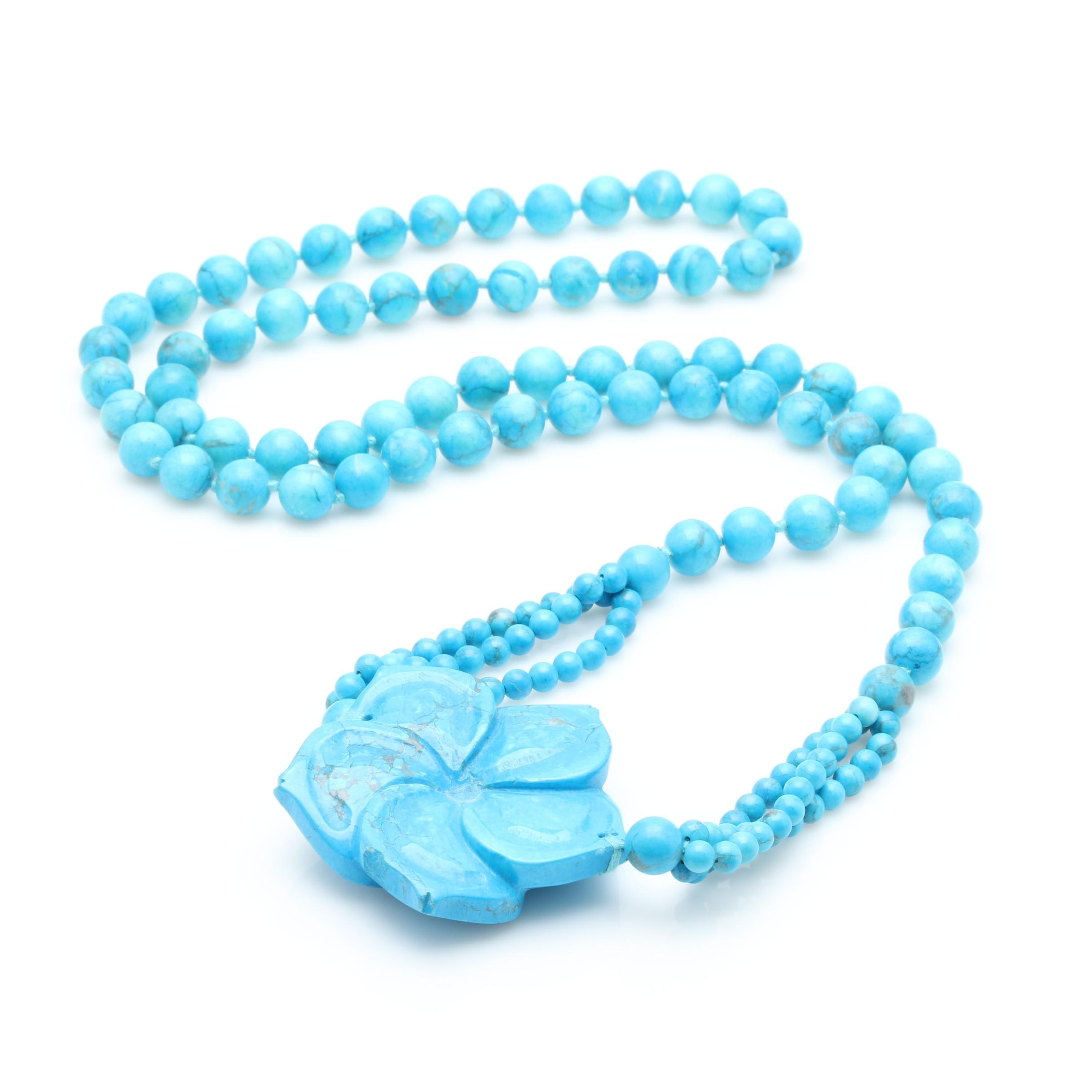 Magnesite Floral Pendant Beaded Necklace