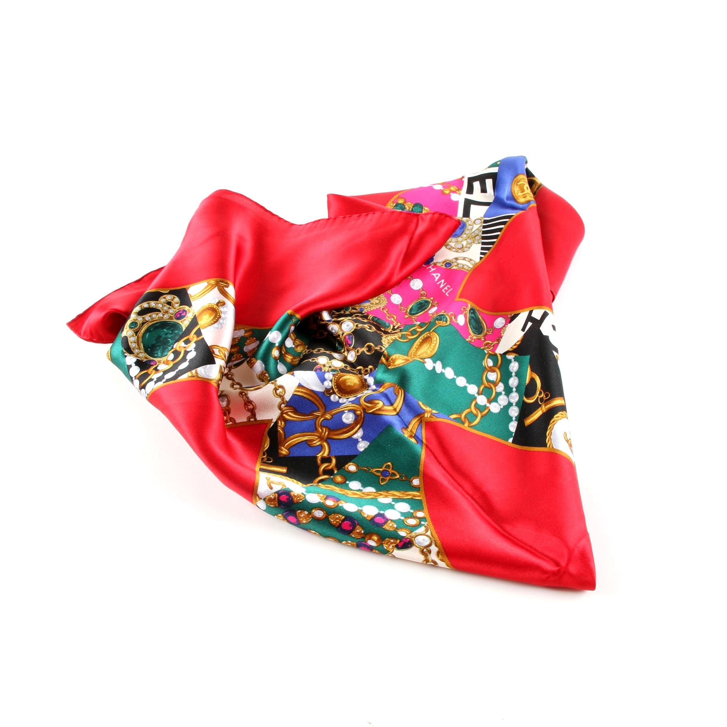 Circa 1980 Chanel Red Silk Scarf