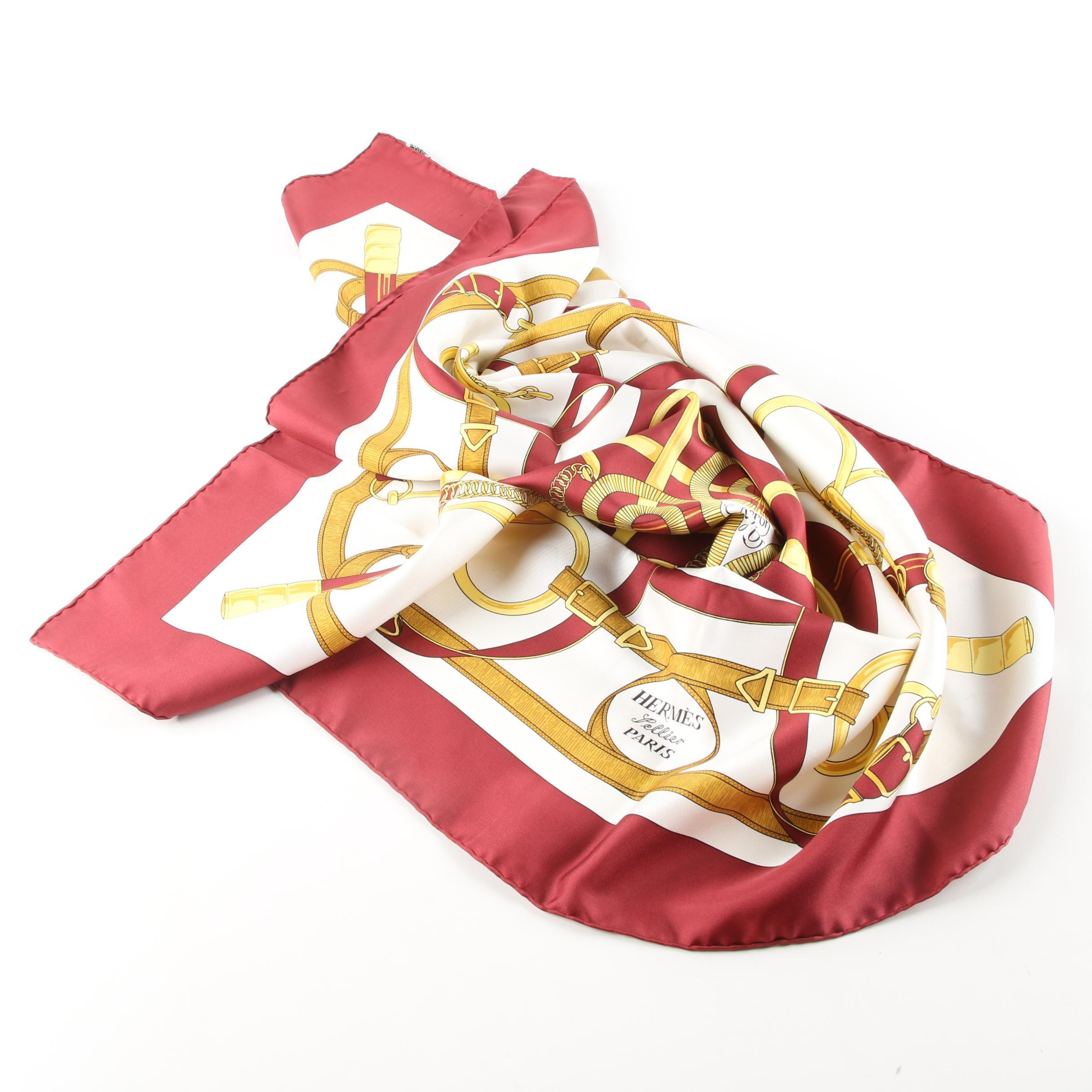 """Vintage Hermès """"Eperon d'Or"""" Silk Scarf"""