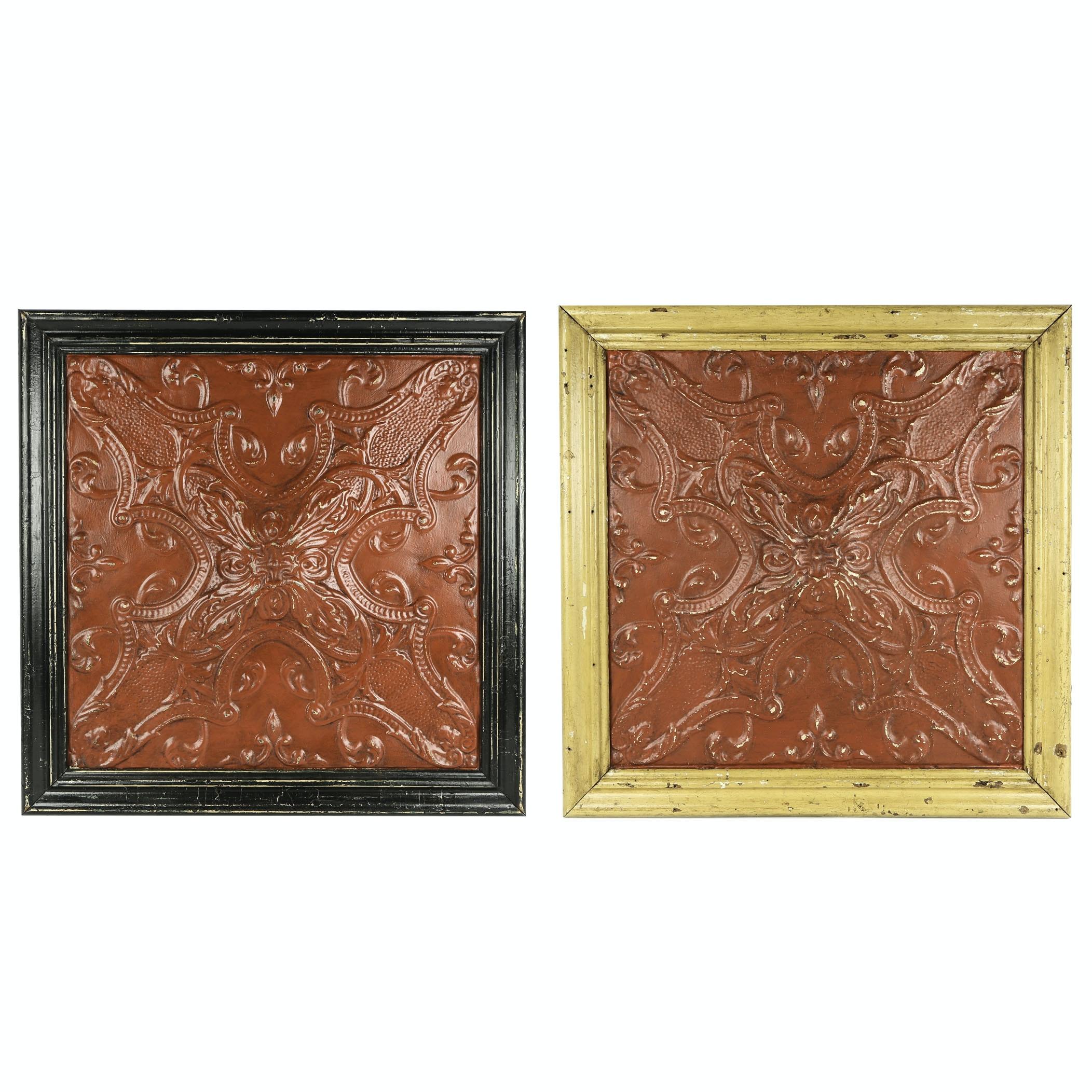 Framed Vintage Ceiling Tiles