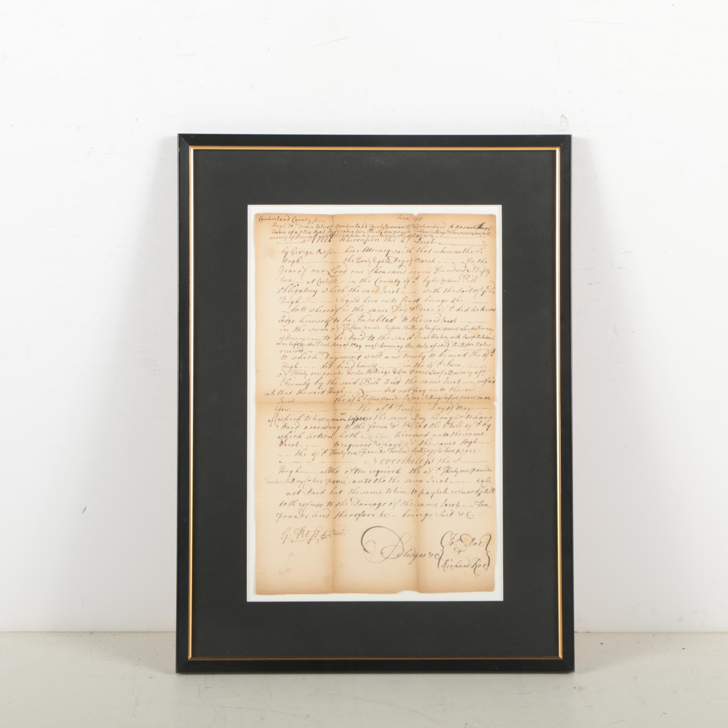 1700's Cumberland County Pennsylvania Autograph Letter Signed By George Ross