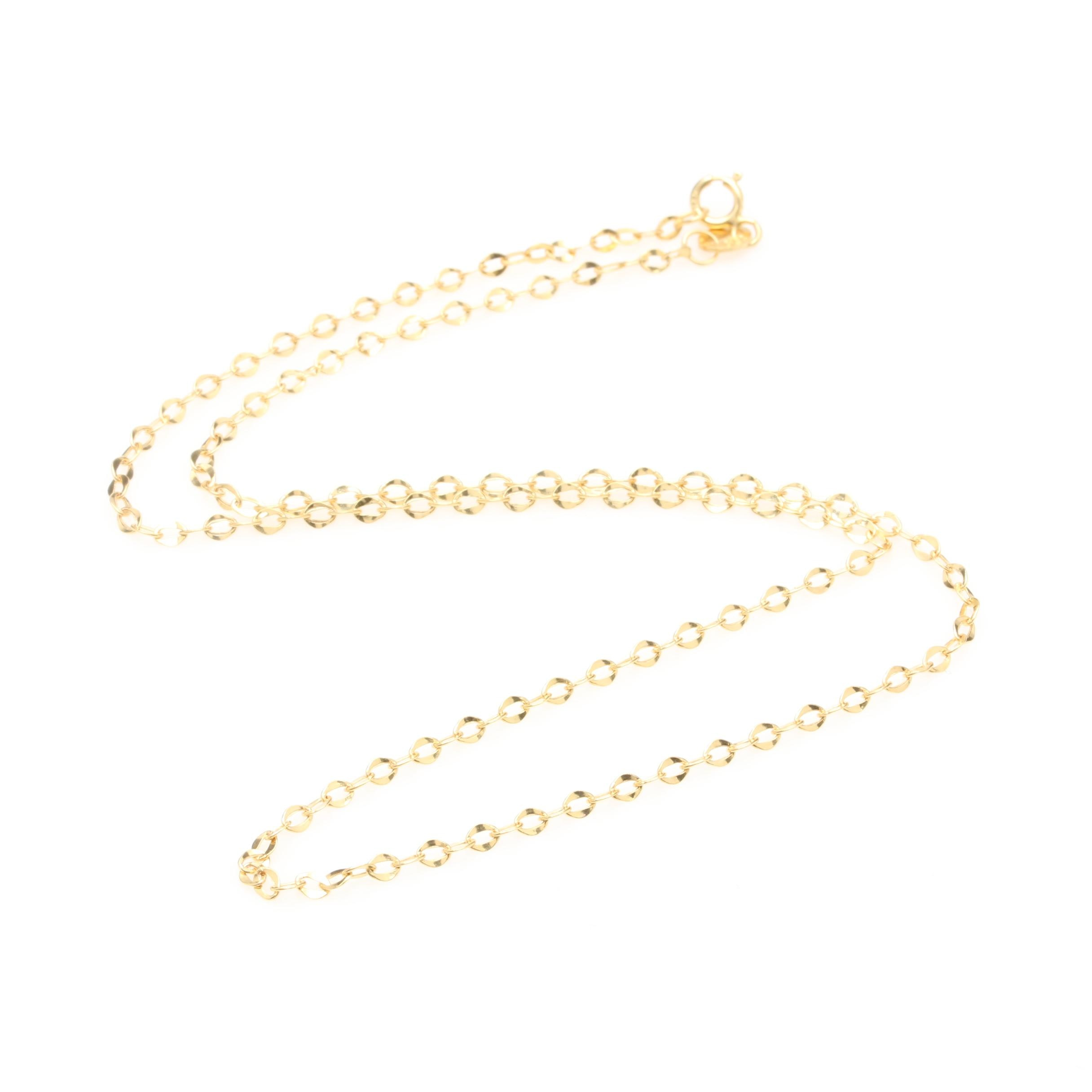 14K Yellow Gold Flat Link Cable Chain Necklace