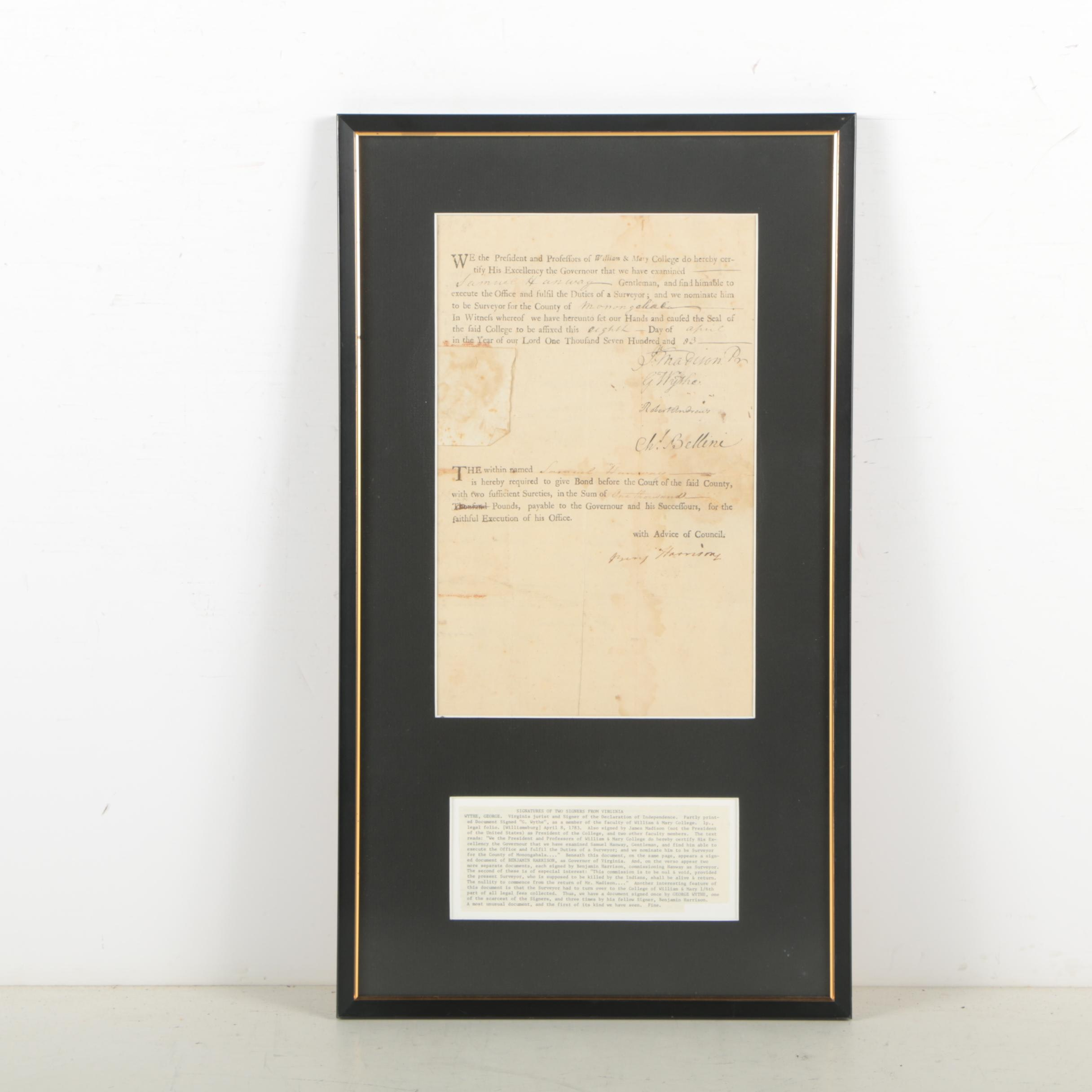 George Wythe and Benjamin Harrison Document Signed April 8, 1783
