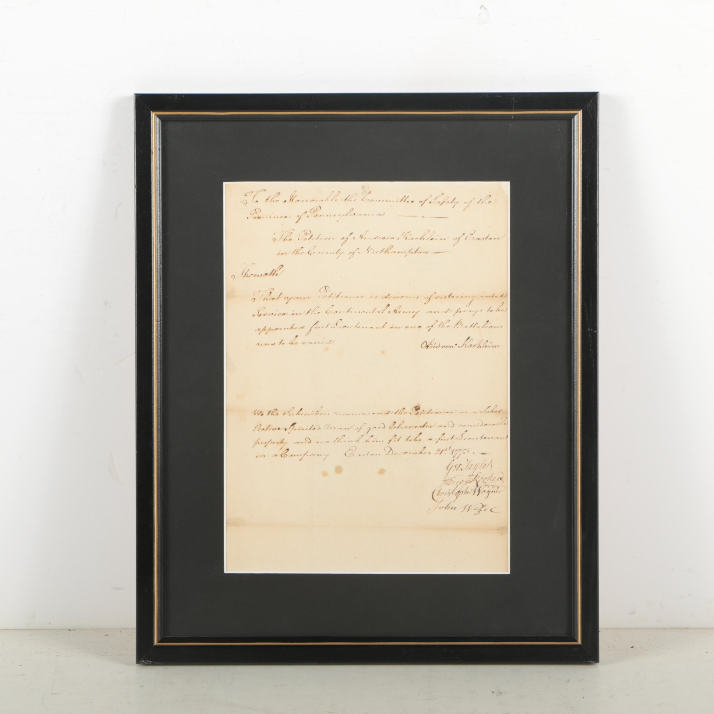 George Taylor War-Date Document Signed December 21, 1775