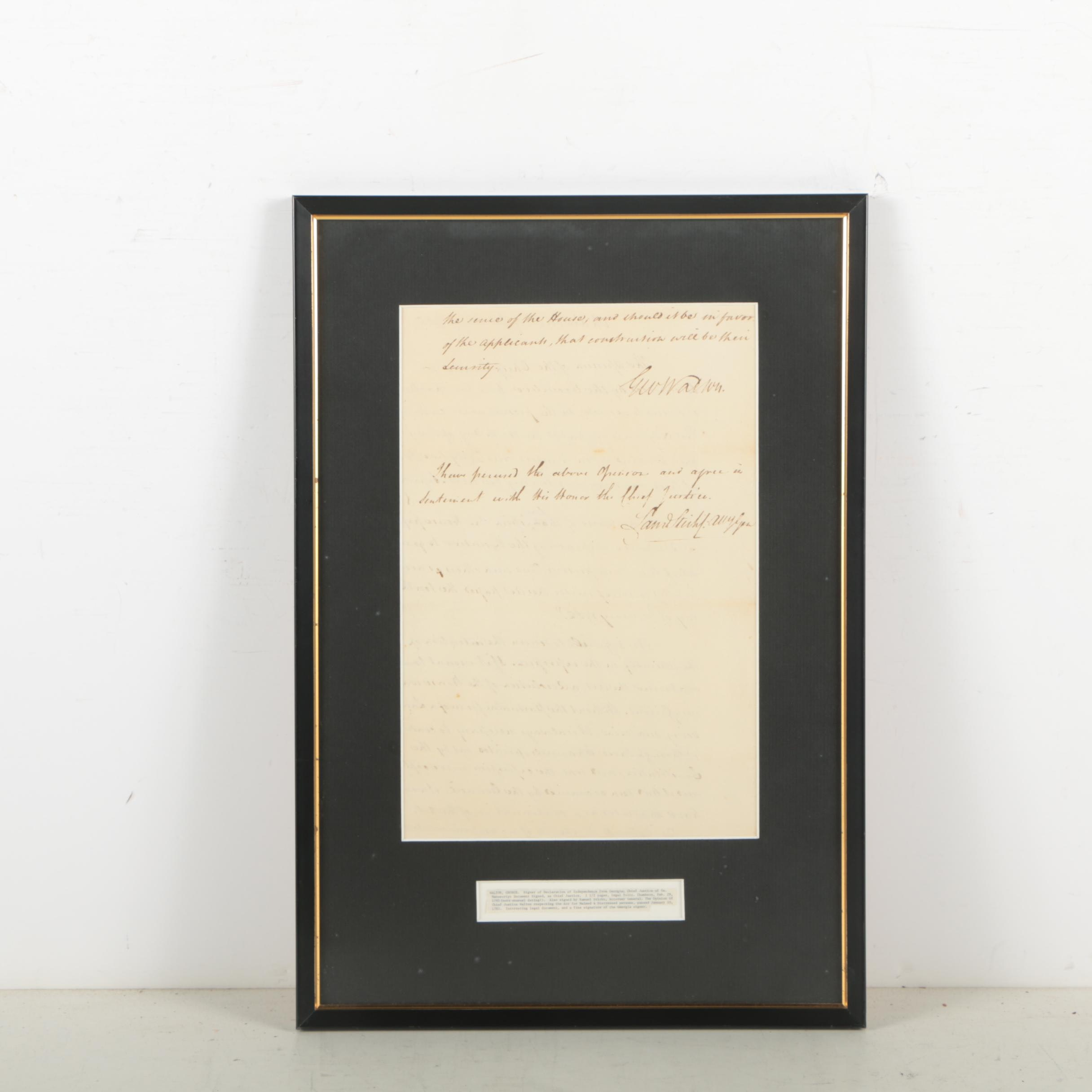 "George Walton Manuscript Document Signed ""Opinion Paper"" February 29, 1785"