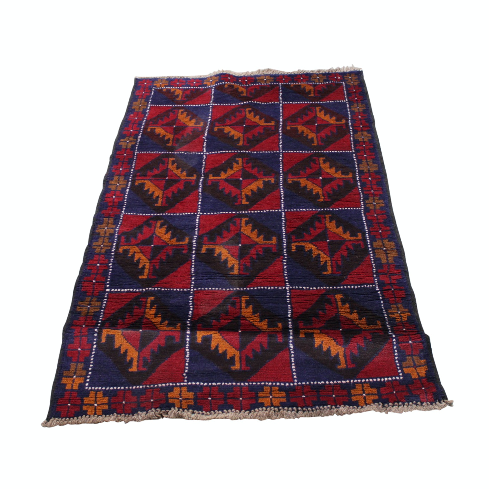 3' x 5' Hand-Knotted Baluch Wool Accent Rug