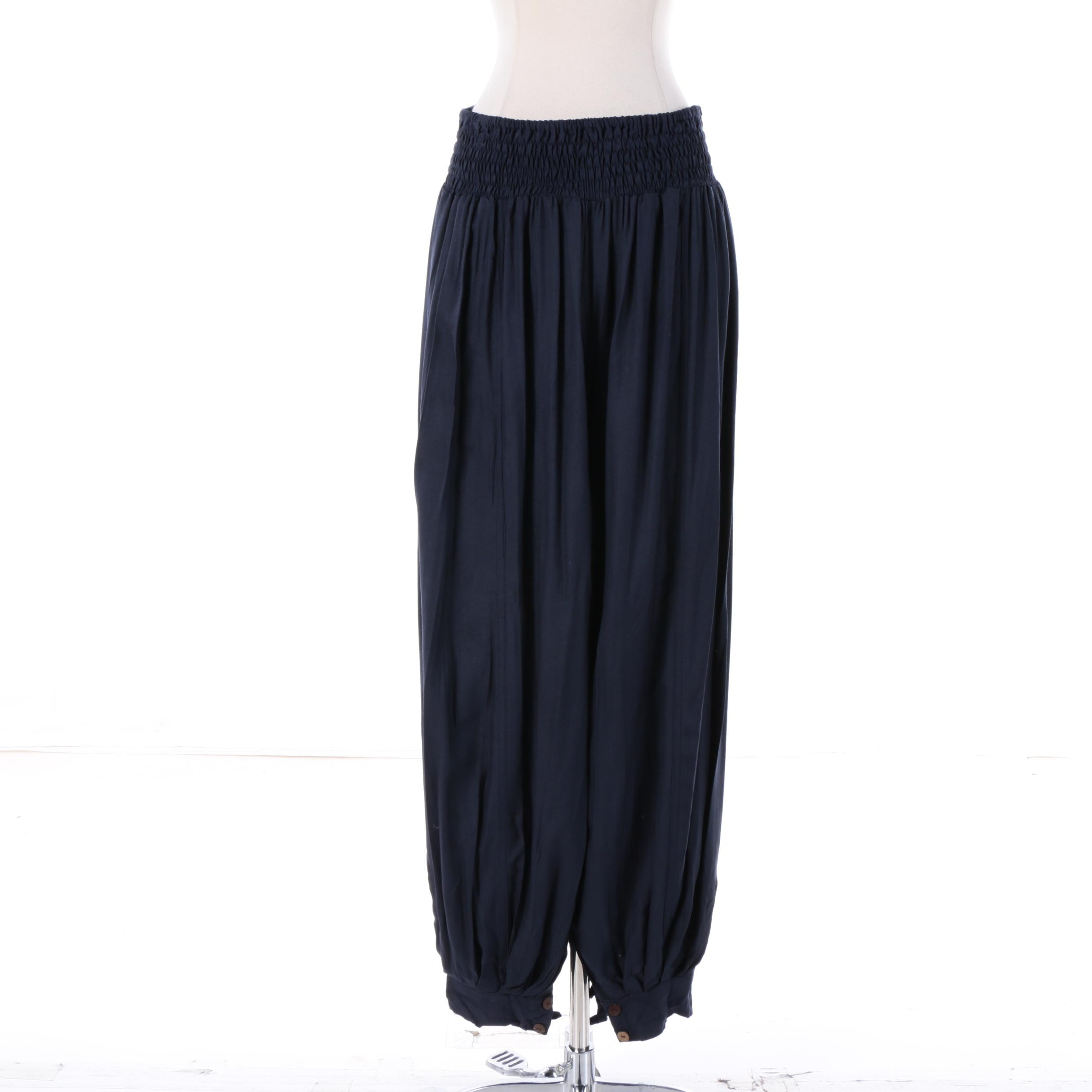 Women's Aller Simplement Navy Blue Rayon Harem Pants with Button Cuffs