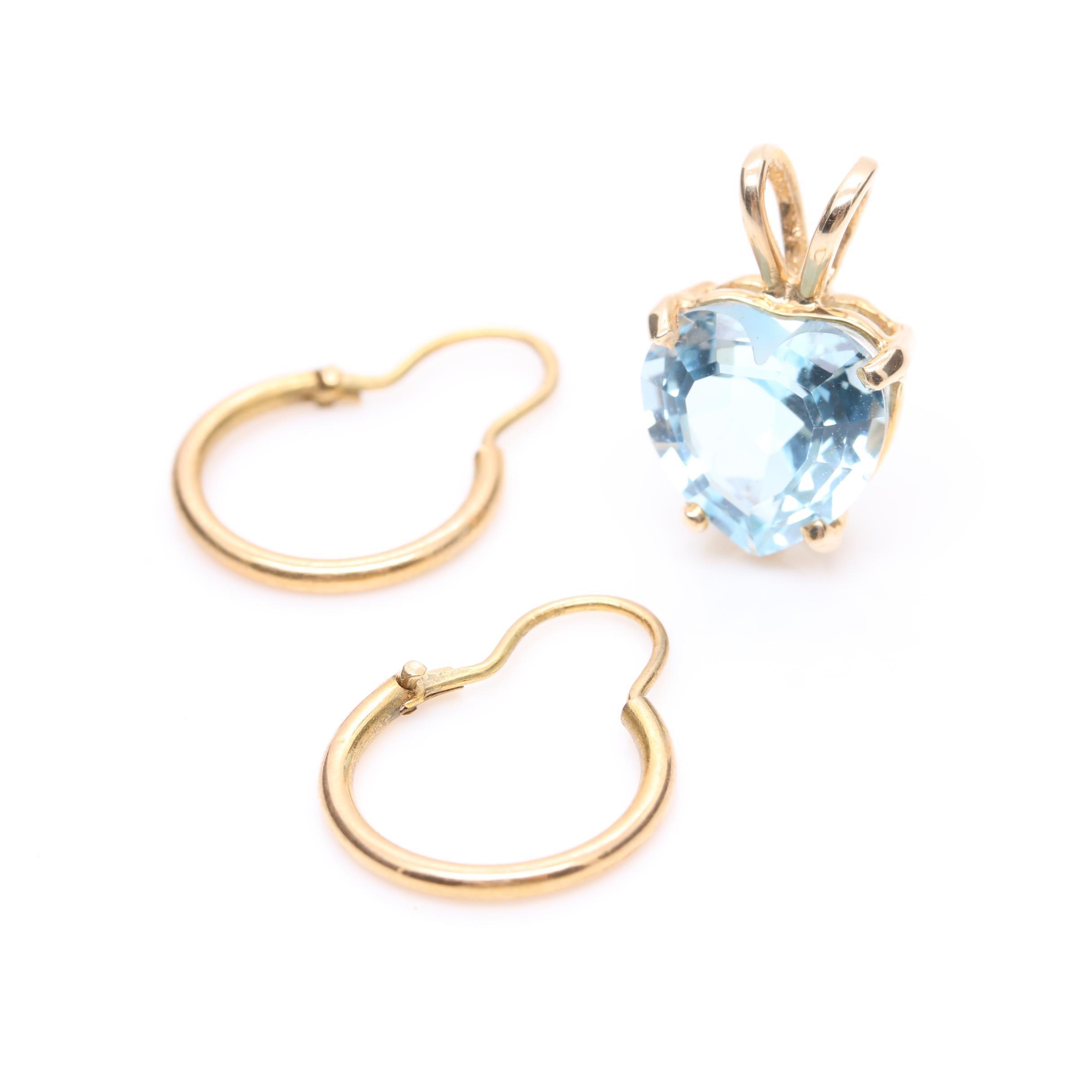 14K Yellow Gold Blue Topaz Heart Pendant and 18K Yellow Gold Hoop Earrings