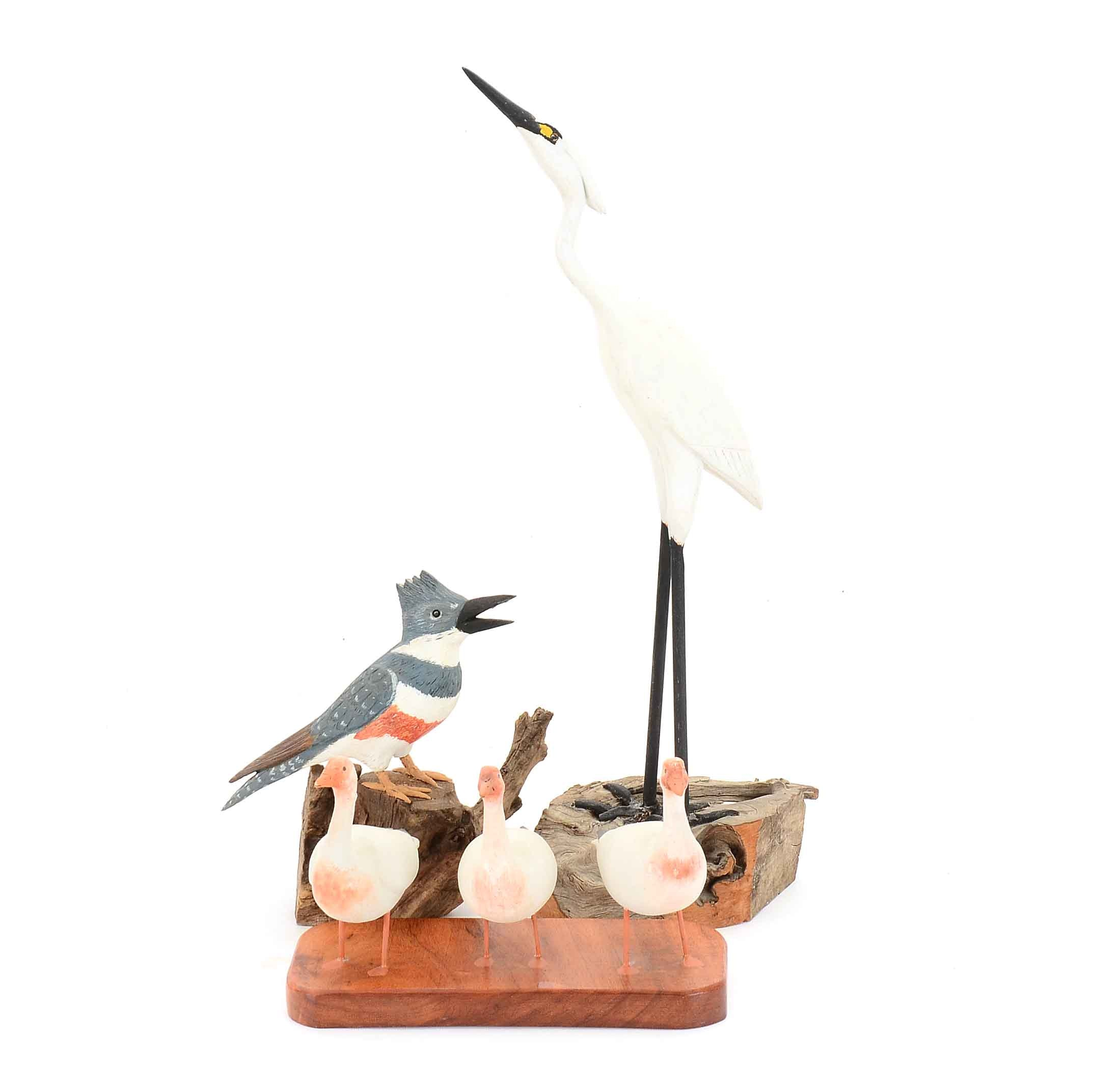 Carved Wooden Hand-Painted Bird Sculptures, Featuring Eugene Ownby