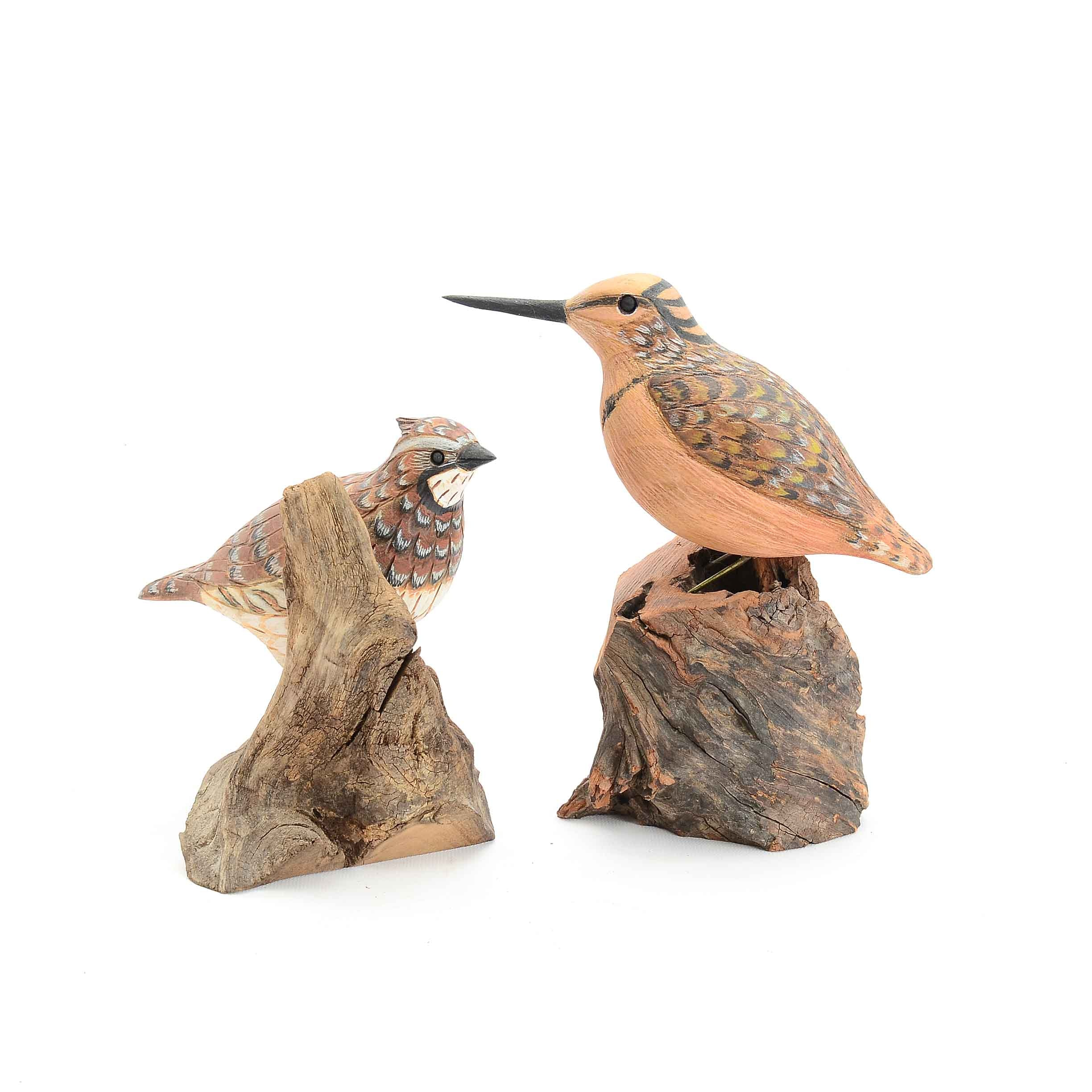 Pair of Carved Wooden Bird Sculptures by Eugene Ownby