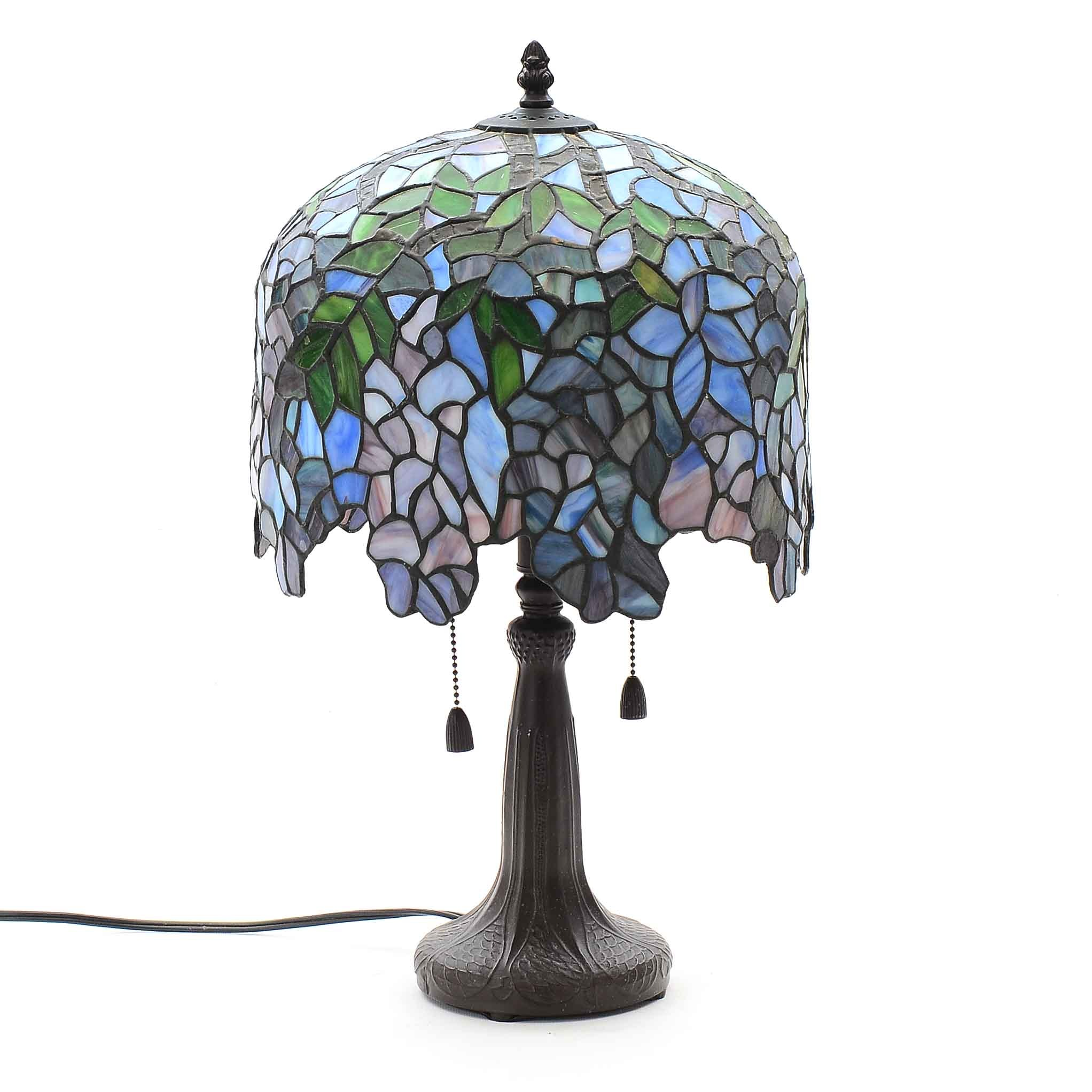 Art Nouveau Lamp With Tiffany Style Stained Glass Shade