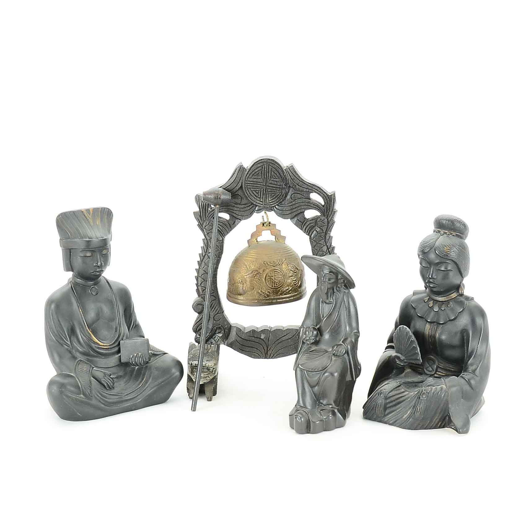 Vintage Asian Inspired Ceramic and Carved Wood Sculptures