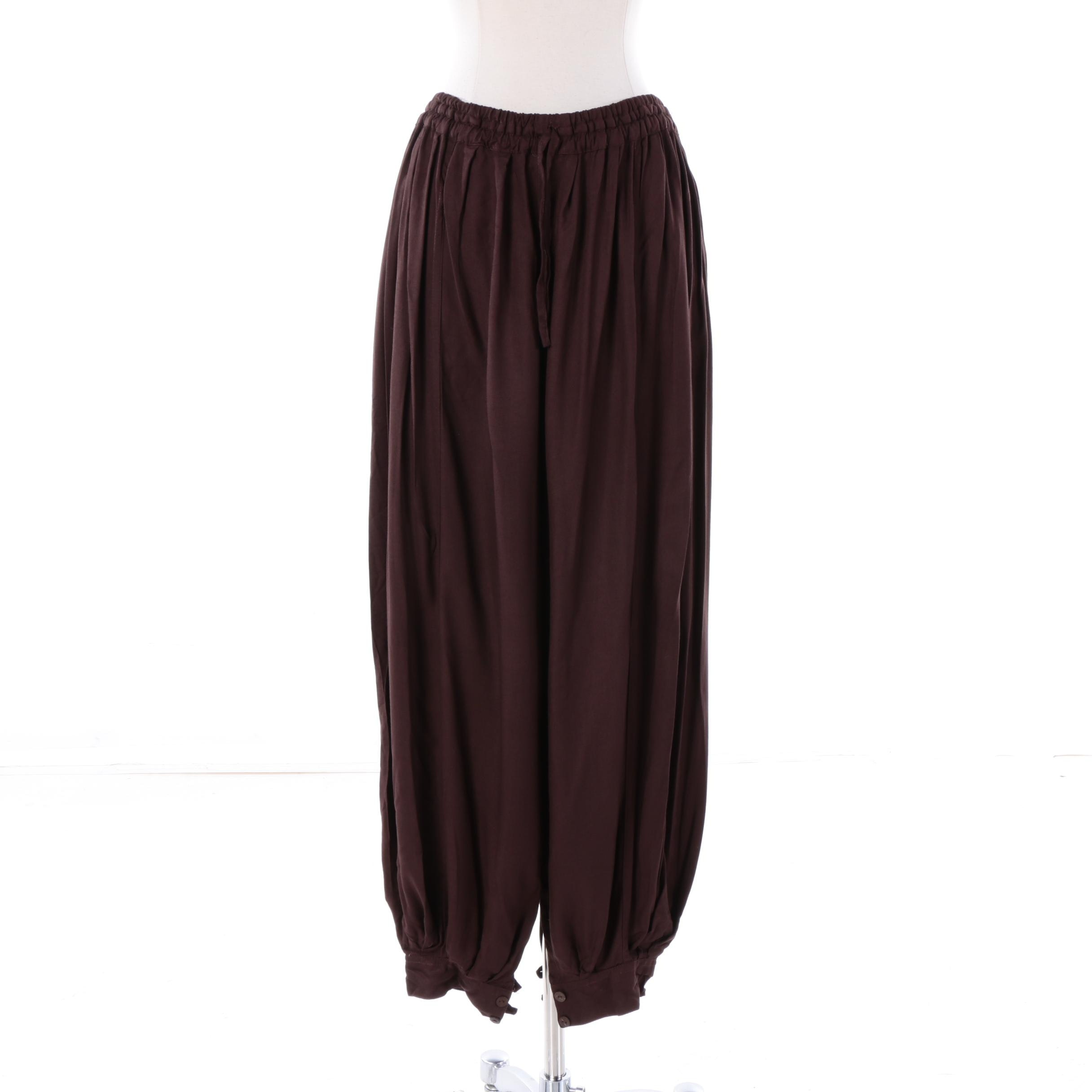 Women's Aller Simplement Brown Rayon Harem Pants
