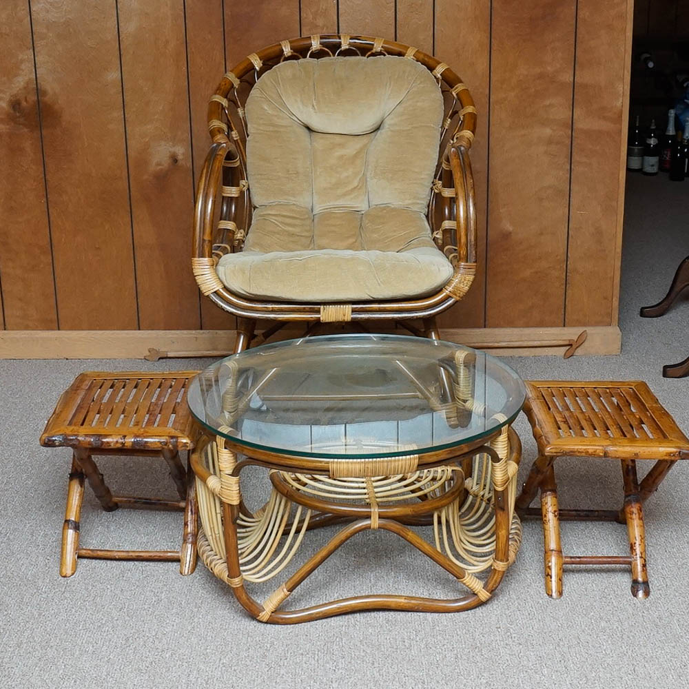 Vintage Rattan Armchair Glass Top Coffee Table and Footstools EBTH