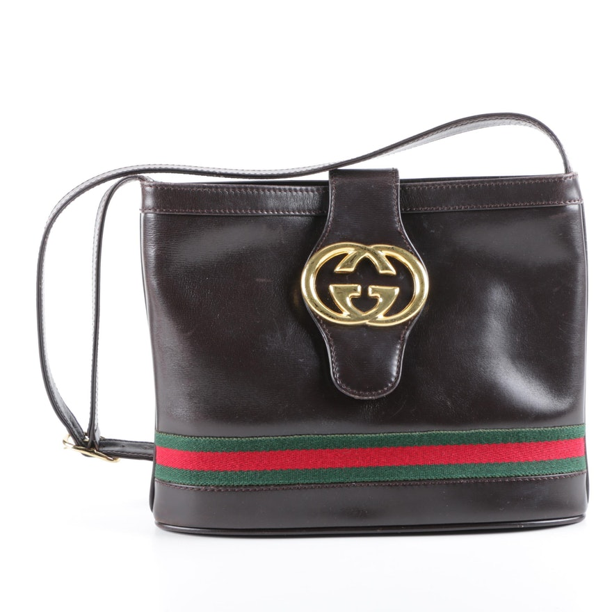 4e6e27937de Vintage Gucci Brown Leather Interlocking GG Shoulder Bag