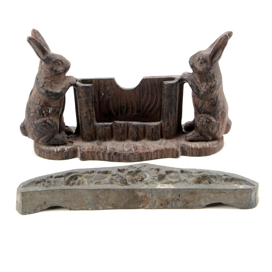 Cast Iron Rabbit Motif Metal Business Card Holder And Rose Mold