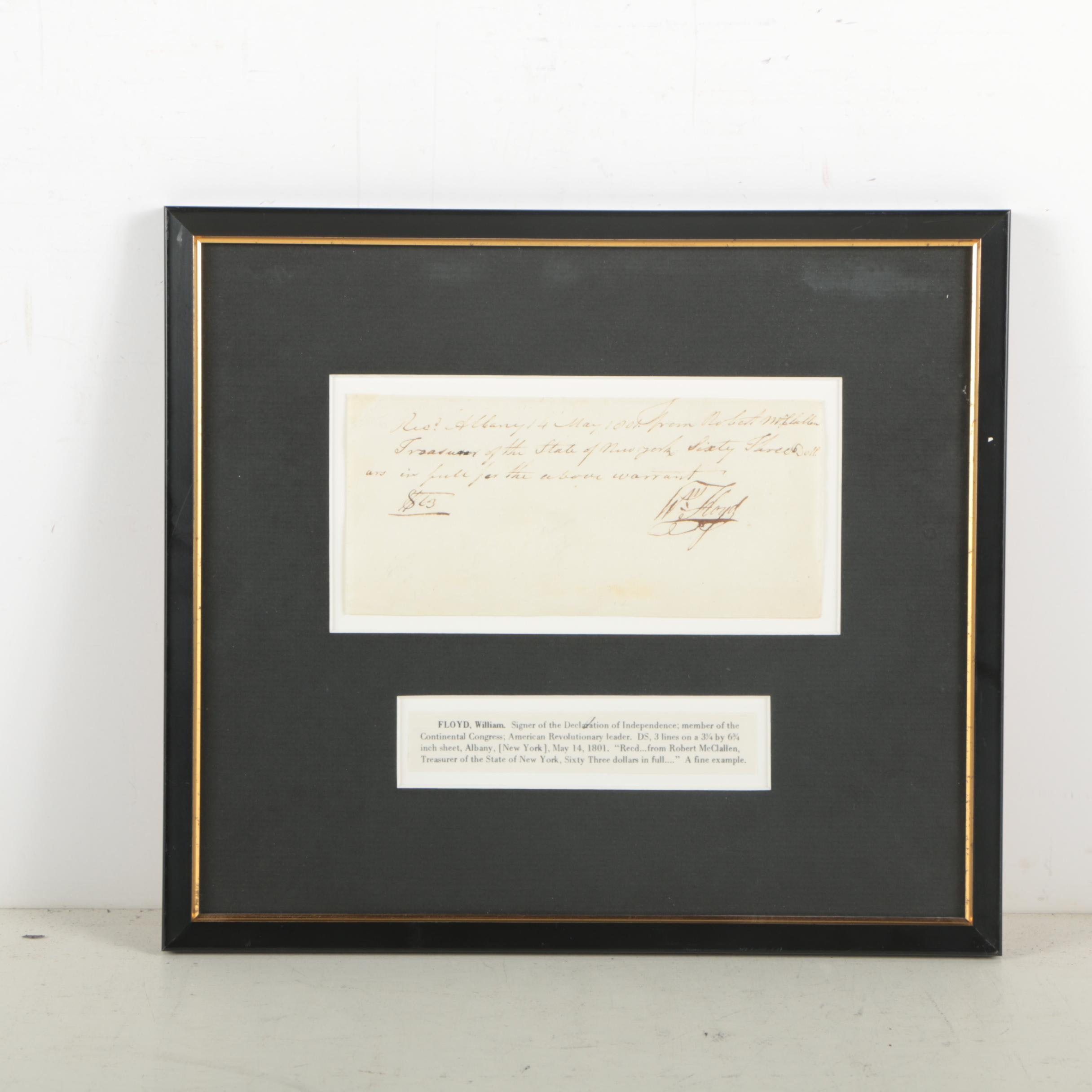 William Floyd Document Signed May 14, 1801