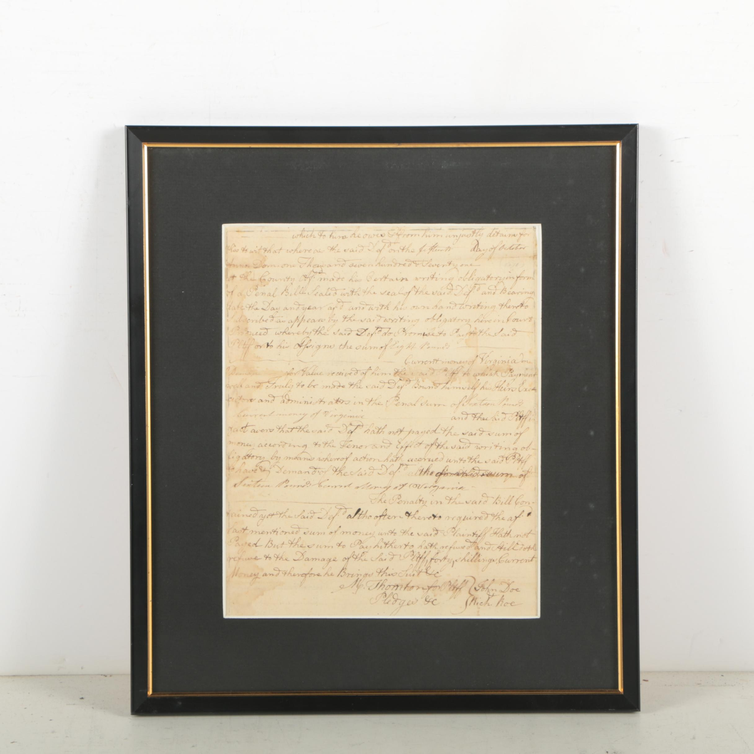 Matthew Thornton Document Signed Concerning Lawsuit