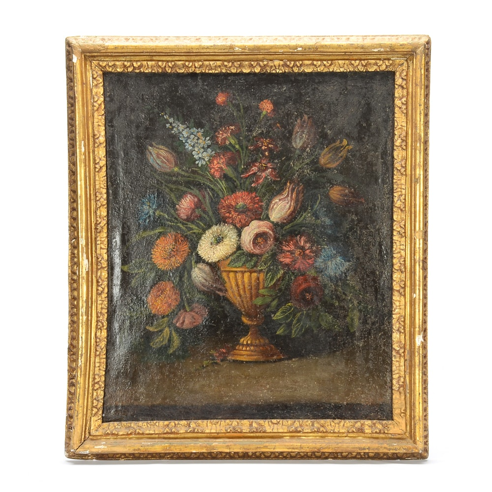 19th Century Oil Painting on Canvas of a Floral Bouquet