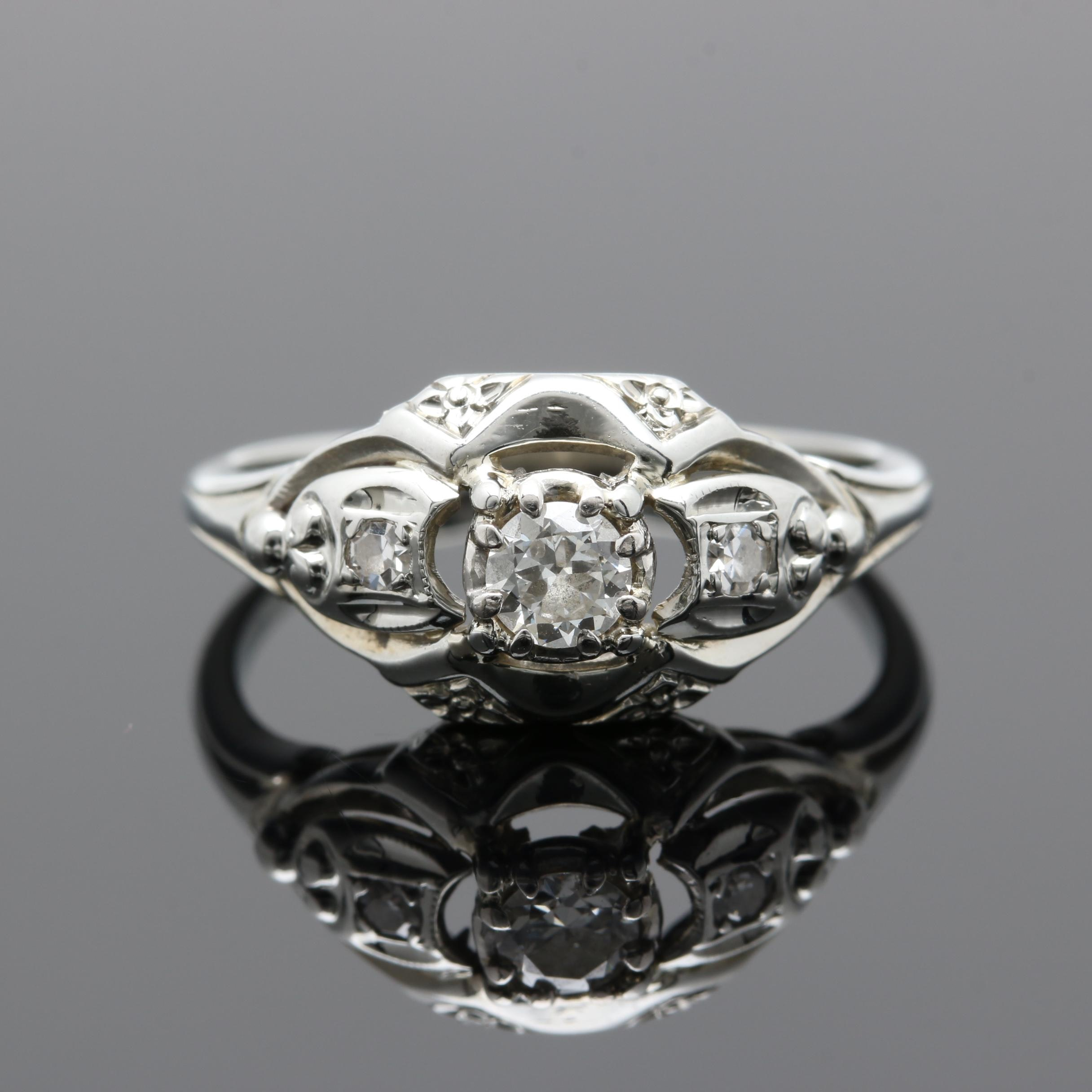18K White Gold Diamond Ring with Platinum Accent
