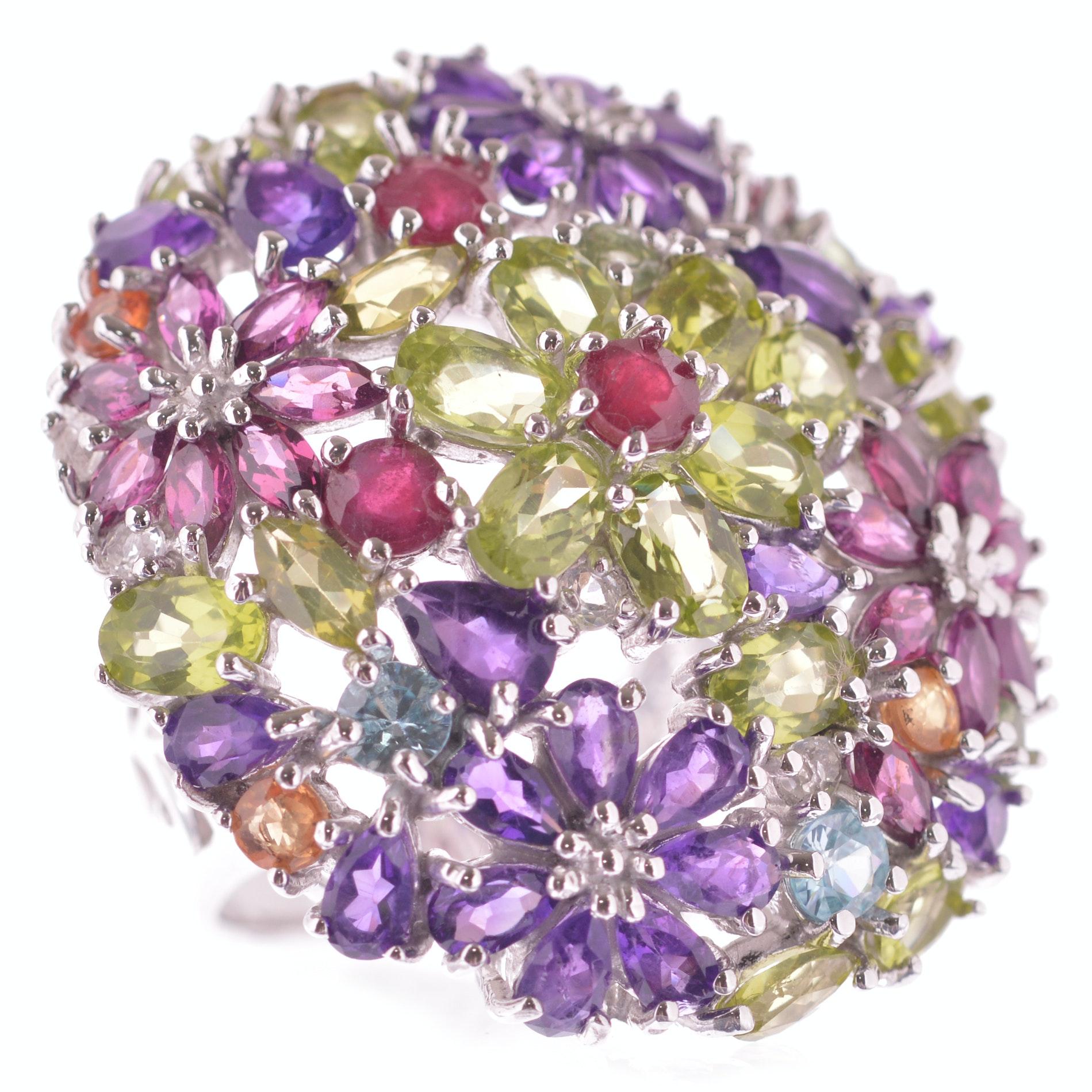 Sterling Silver Multi-Gemstone Flower Ring